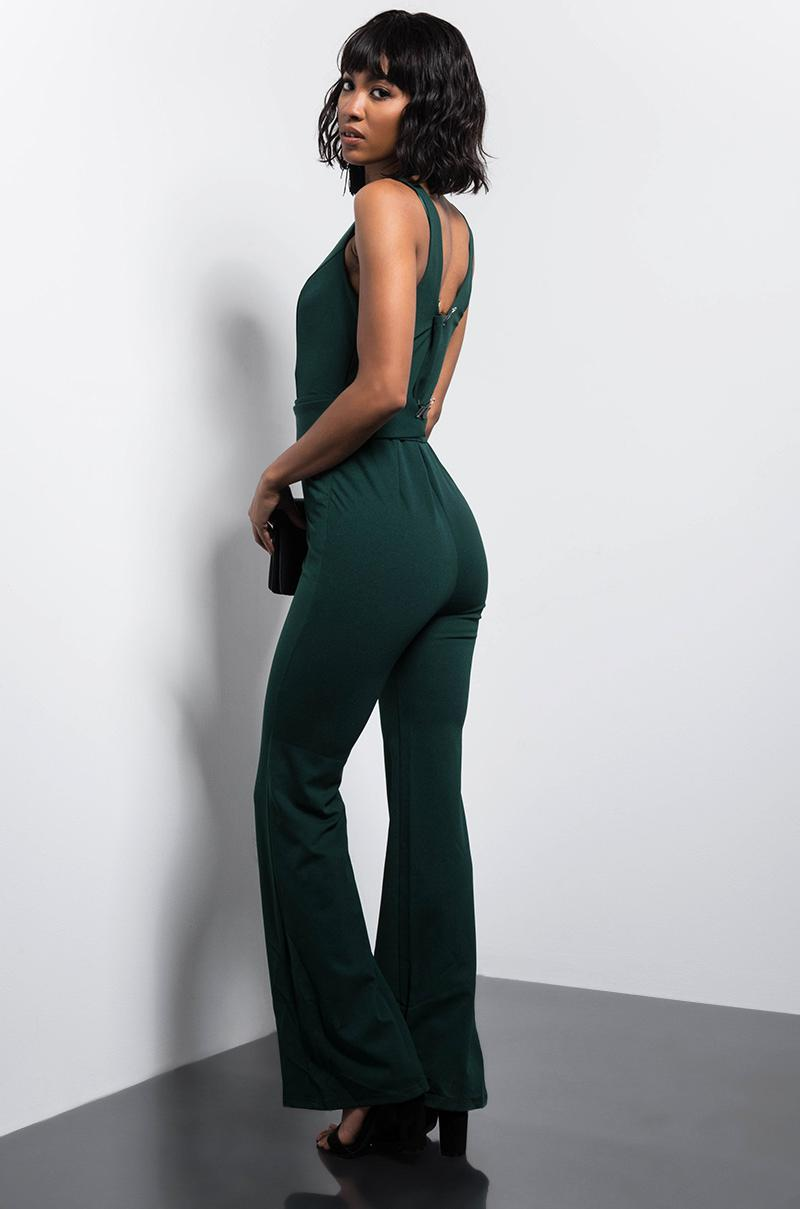 096cfb883f8 Lyst - AKIRA Upper East Sider Flared Jumpsuit in Green