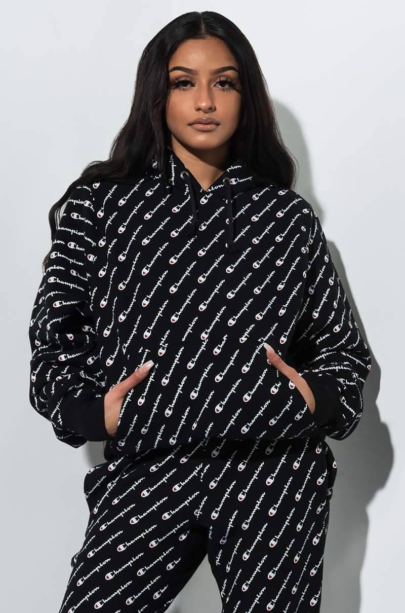 f9af1c612370 Champion - Black Reverse Weave All Over Cursive Script Logo Hoodie - Lyst.  View fullscreen