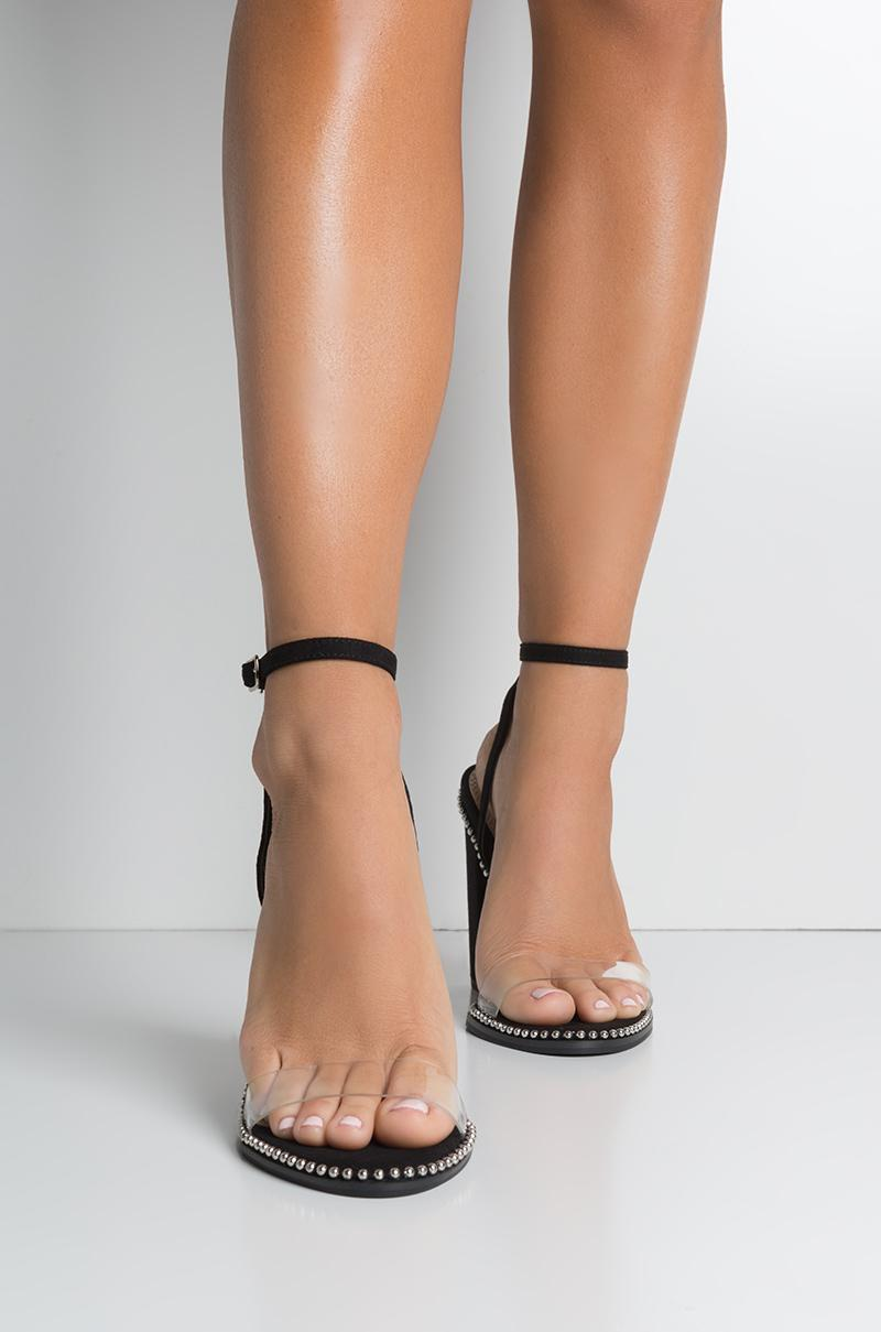 clear strap heels black buy clothes