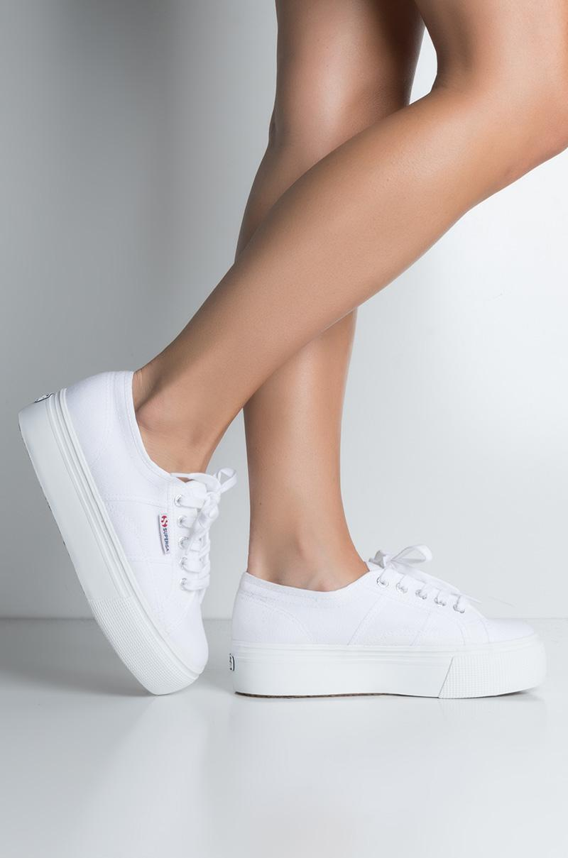 69c42fc582ee Lyst - AKIRA Superga 2790 Acotw Linea Platform Sneaker in White