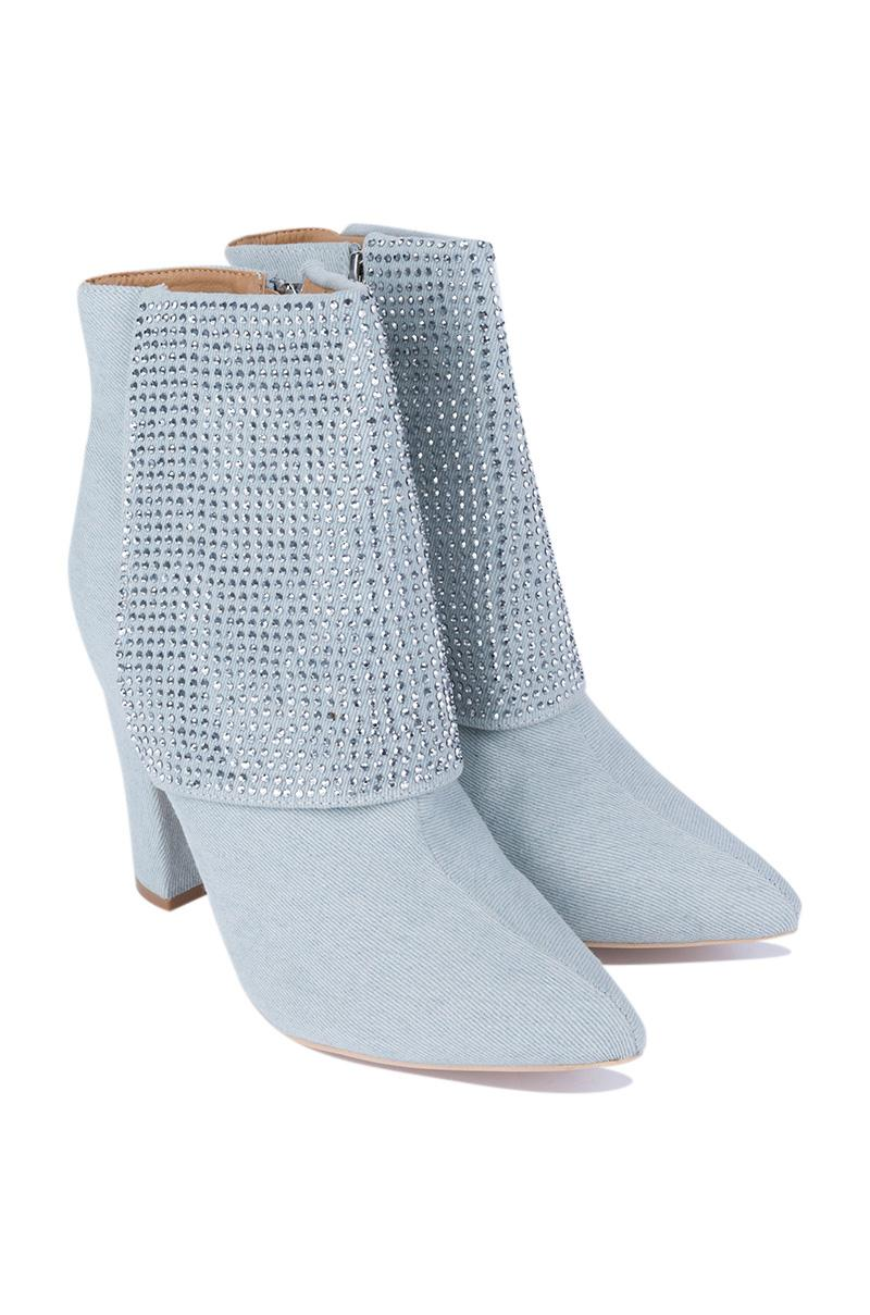 AKIRA Synthetic No Need To Hesitate Ankle Booties in Light Denim (Blue)