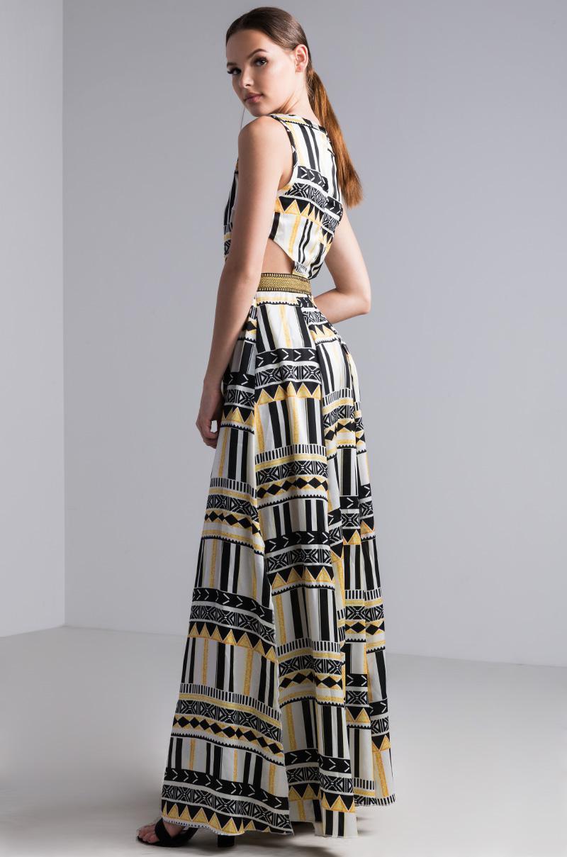 AKIRA Synthetic Cosmic Skies Printed Maxi Dress