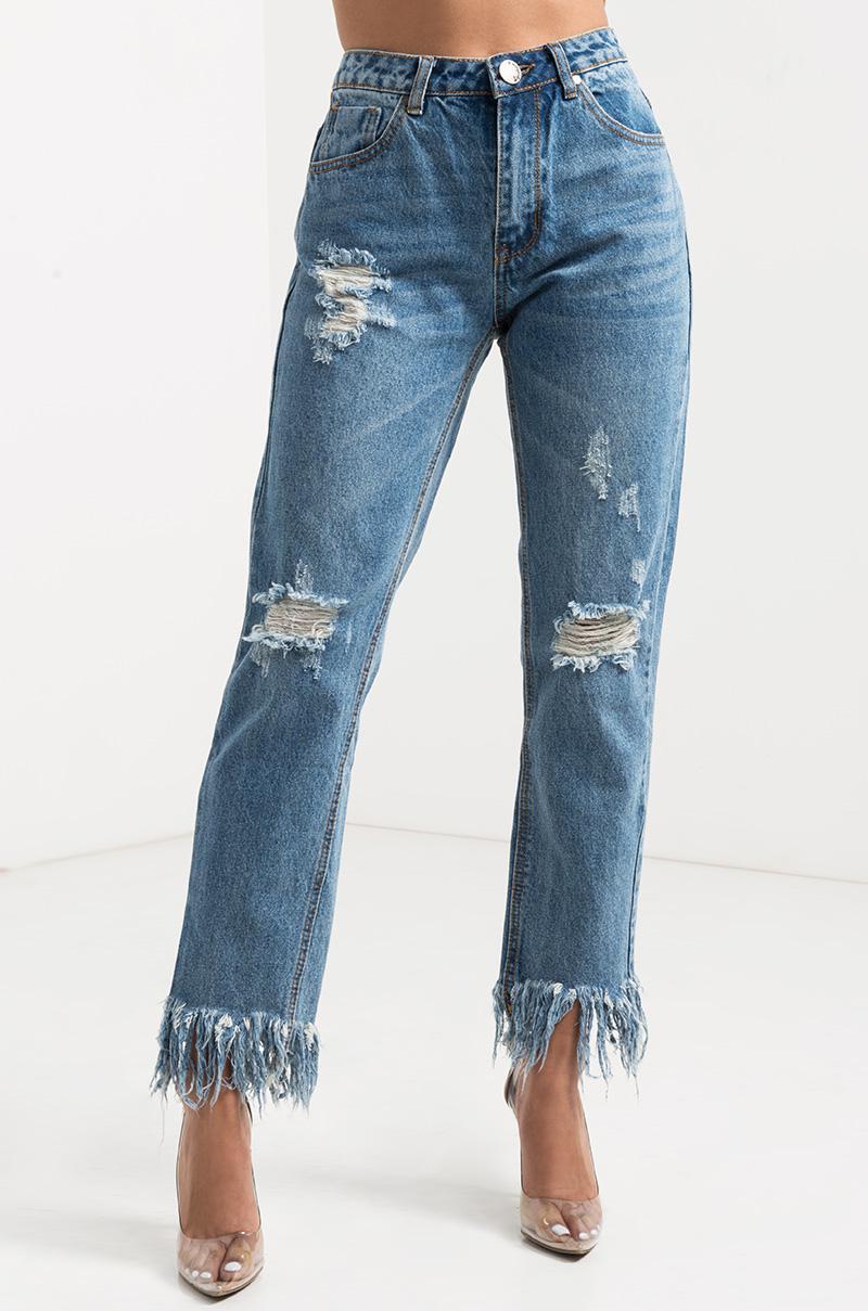 Akira Release Me Frayed Hem Distressed Jeans in Blue
