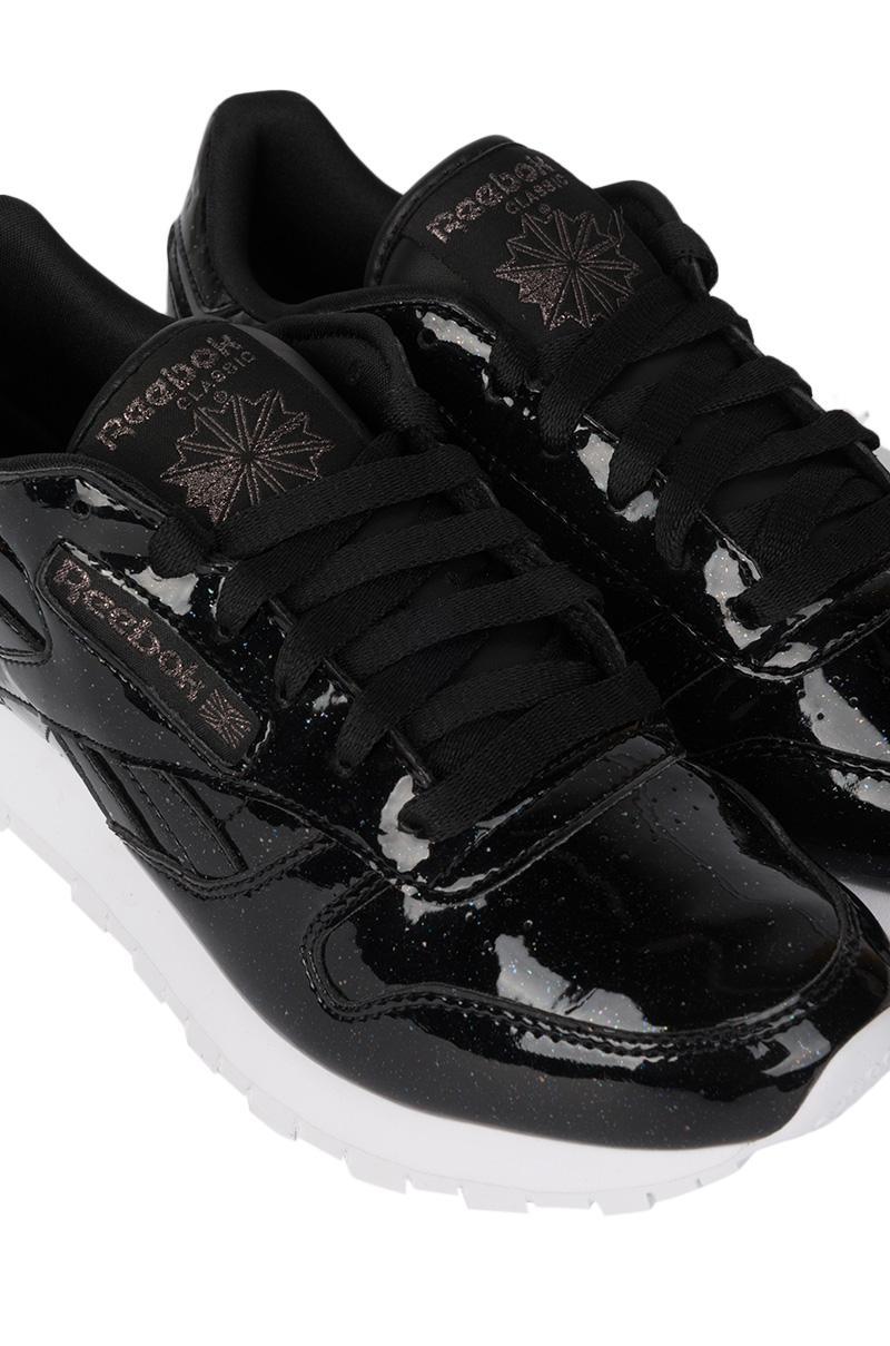 Reebok Classic Leather Patent Pearl Sneaker in Pearl Black
