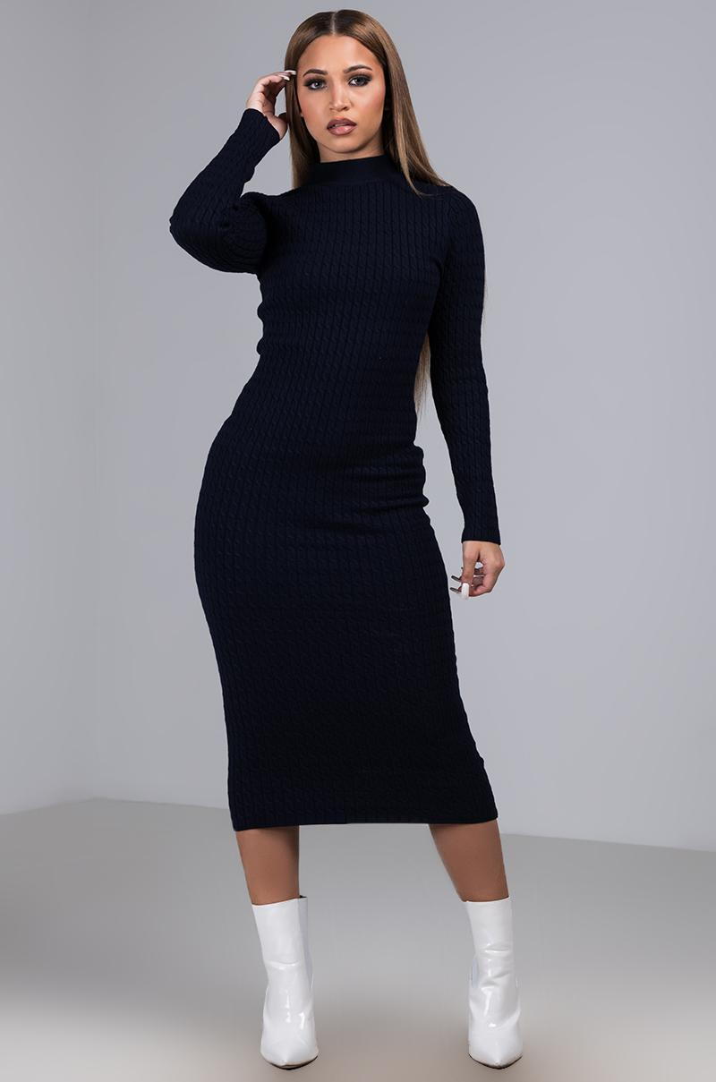 520aaf72595 Akira Keep It Cozy Cable Knit Sweater Dress in Blue - Lyst