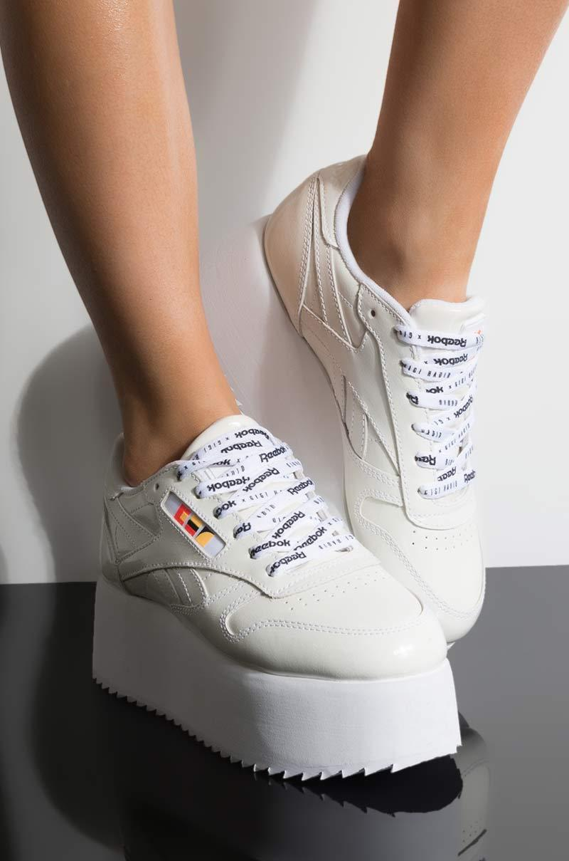 Reebok - Gigi Hadid X Cl Leather Platform Sneaker In White Patent - Lyst.  View fullscreen 4a2cf5a2e