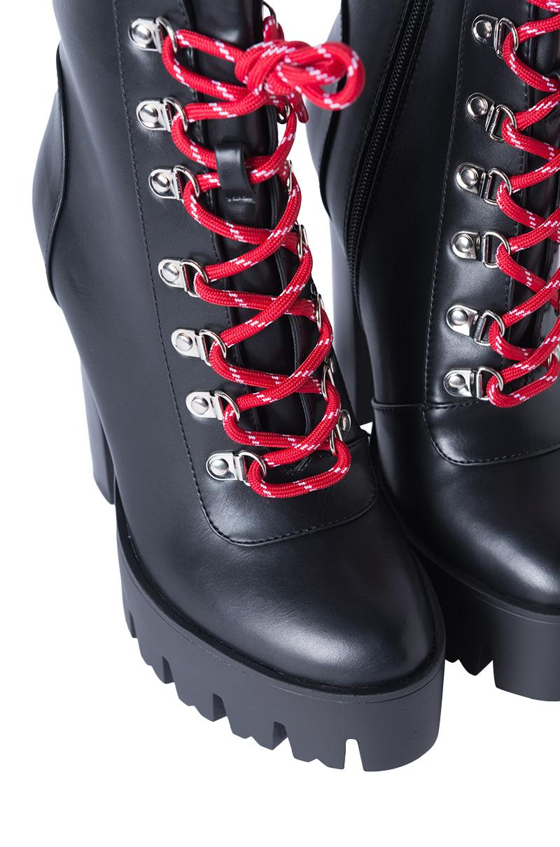 AKIRA Synthetic Something In The Air Lace Up Platform Heeled Bootie in Black pu Red Lace (Black)