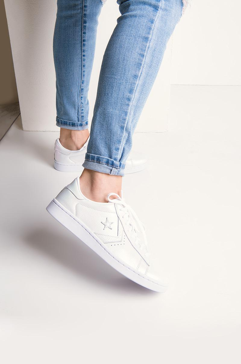 d0631fd0c653f3 Lyst - AKIRA Converse Pro Leather Iridescent Low Top Sneaker in White