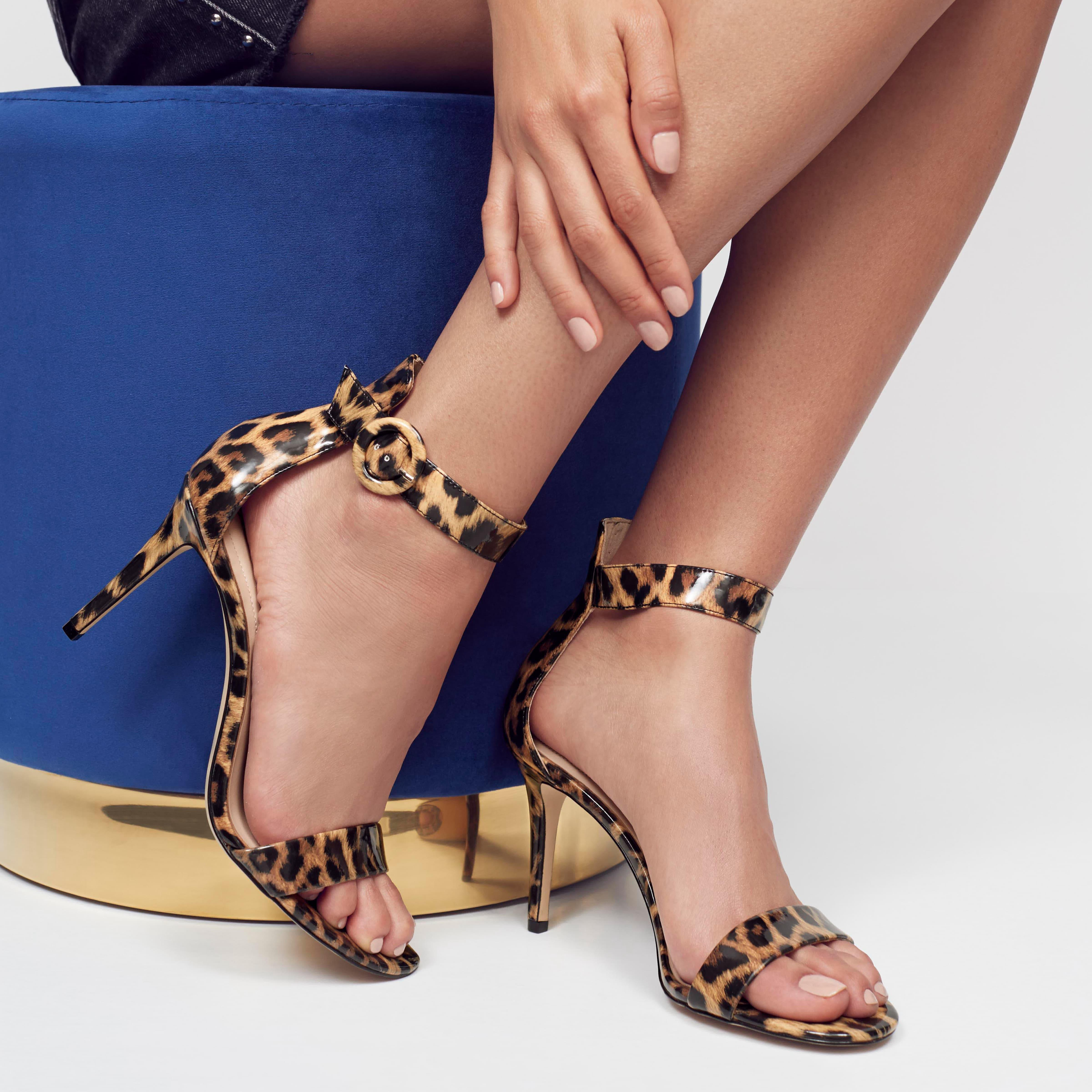 3c93211d7c85 Lyst - ALDO Leopard  yenalia  Print Strappy Heeled Sandals in Brown