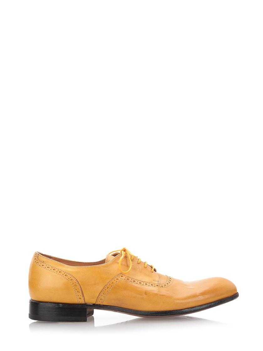 al duca d aosta yellow leather borgues shoes in yellow for
