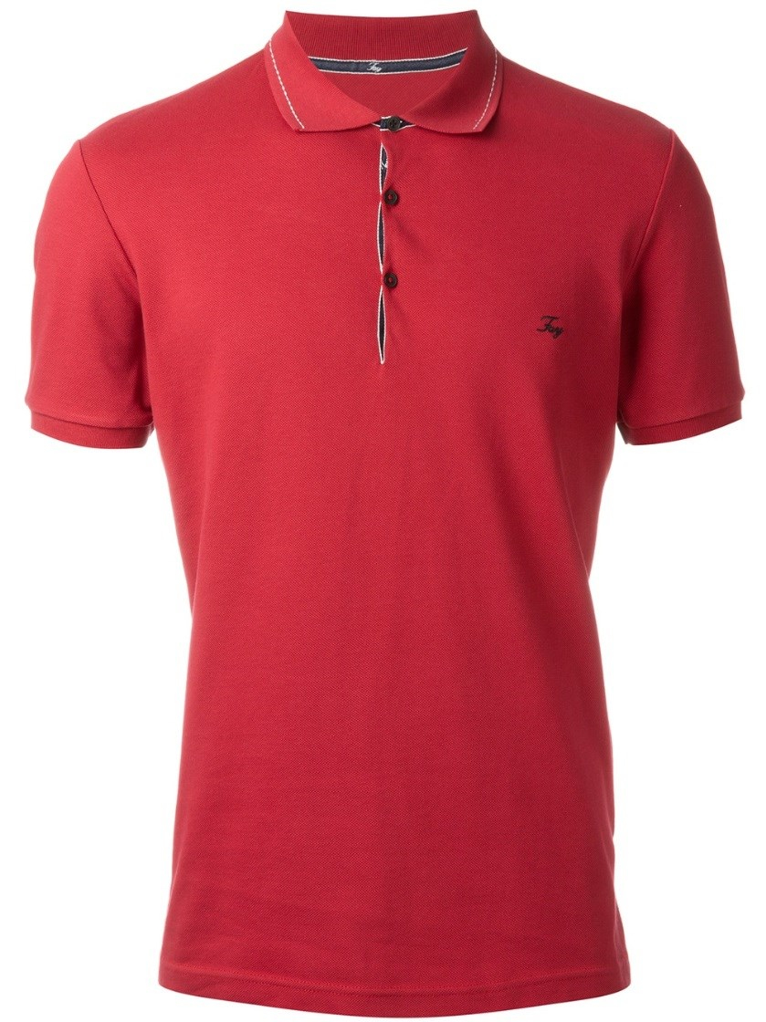 Fay embroidered logo polo shirt in red for men lyst for Logo printed polo shirts