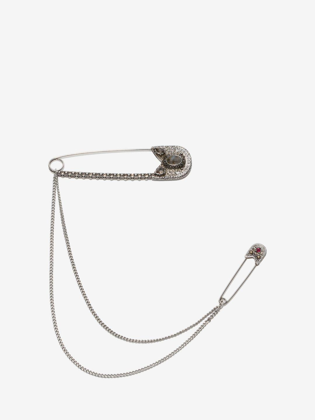a70348bf1fe9c Women's Metallic Oversize Safety Pin Brooch