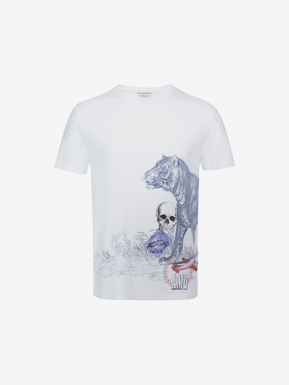Lyst alexander mcqueen organic cotton t shirt in white for Organic cotton t shirt printing