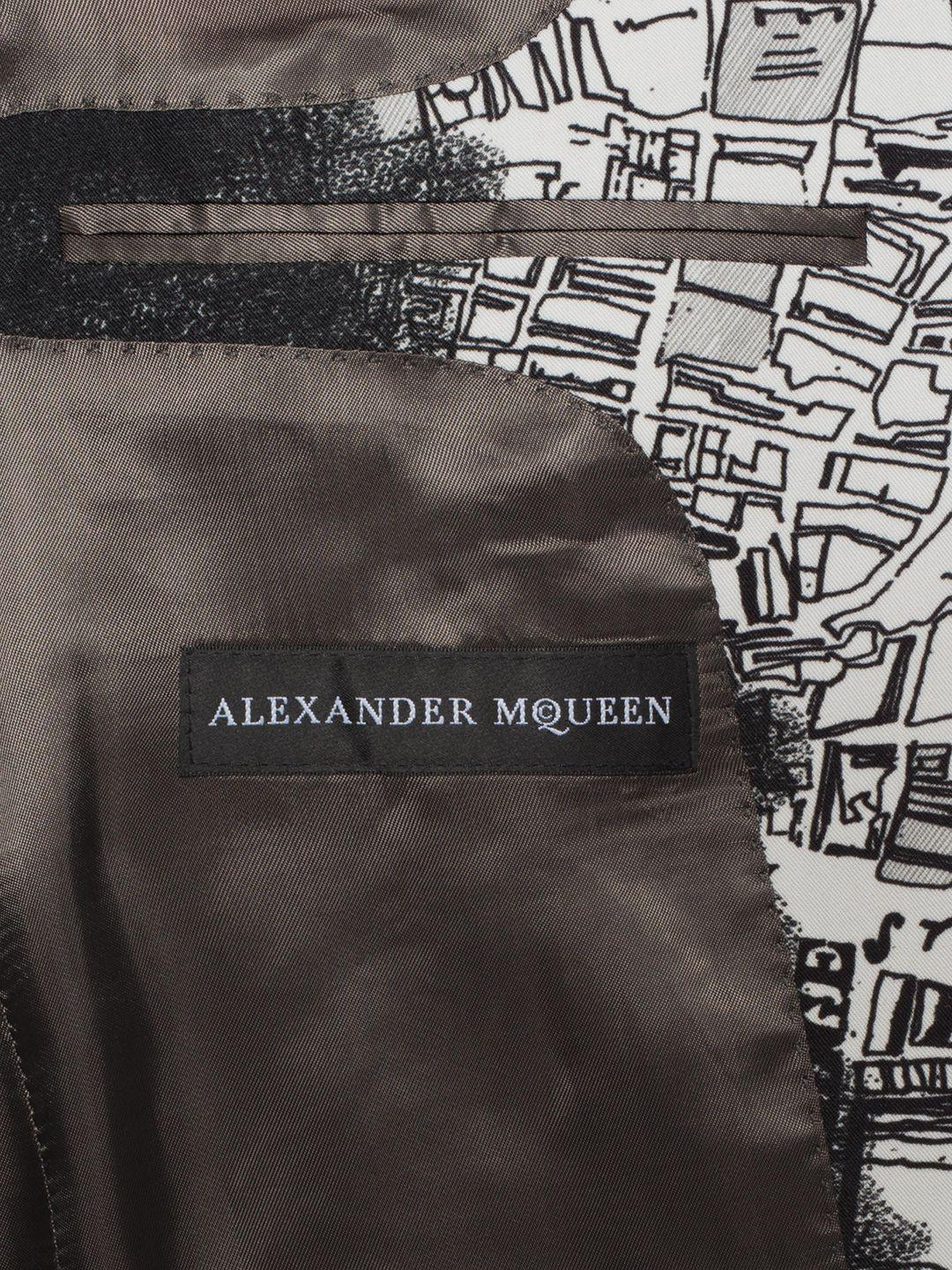 "Alexander McQueen Wool ""london Map"" Print Jacket in White/Black (Black) for Men"