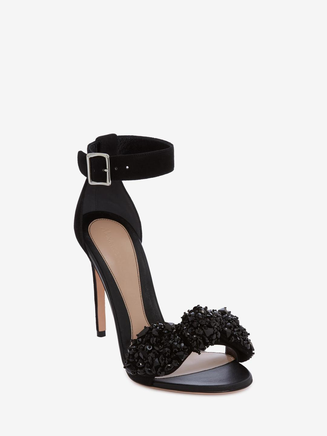 577b2f6810e9 Lyst - Alexander Mcqueen Bow Embroidered Sandal in Black