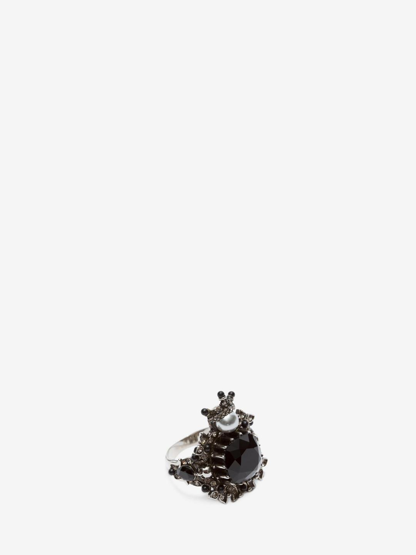 Alexander McQueen Leather Ring in Antique Silver (Metallic) for Men