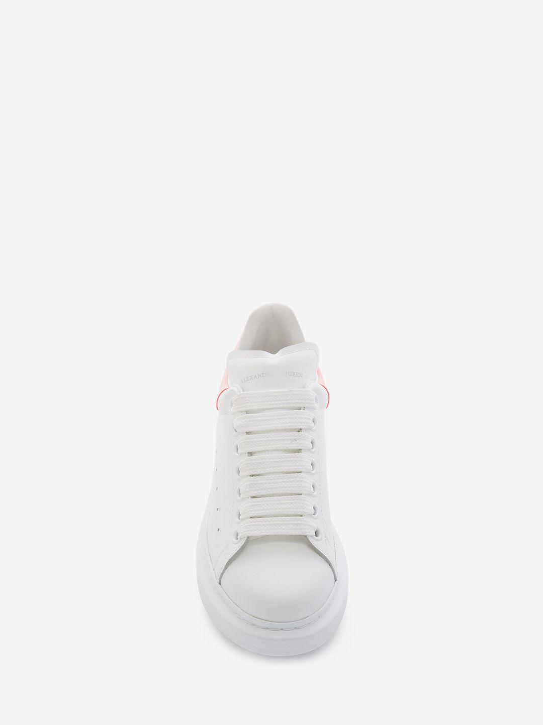 Alexander McQueen Leather Oversized Sneaker in Neon Coral (White)