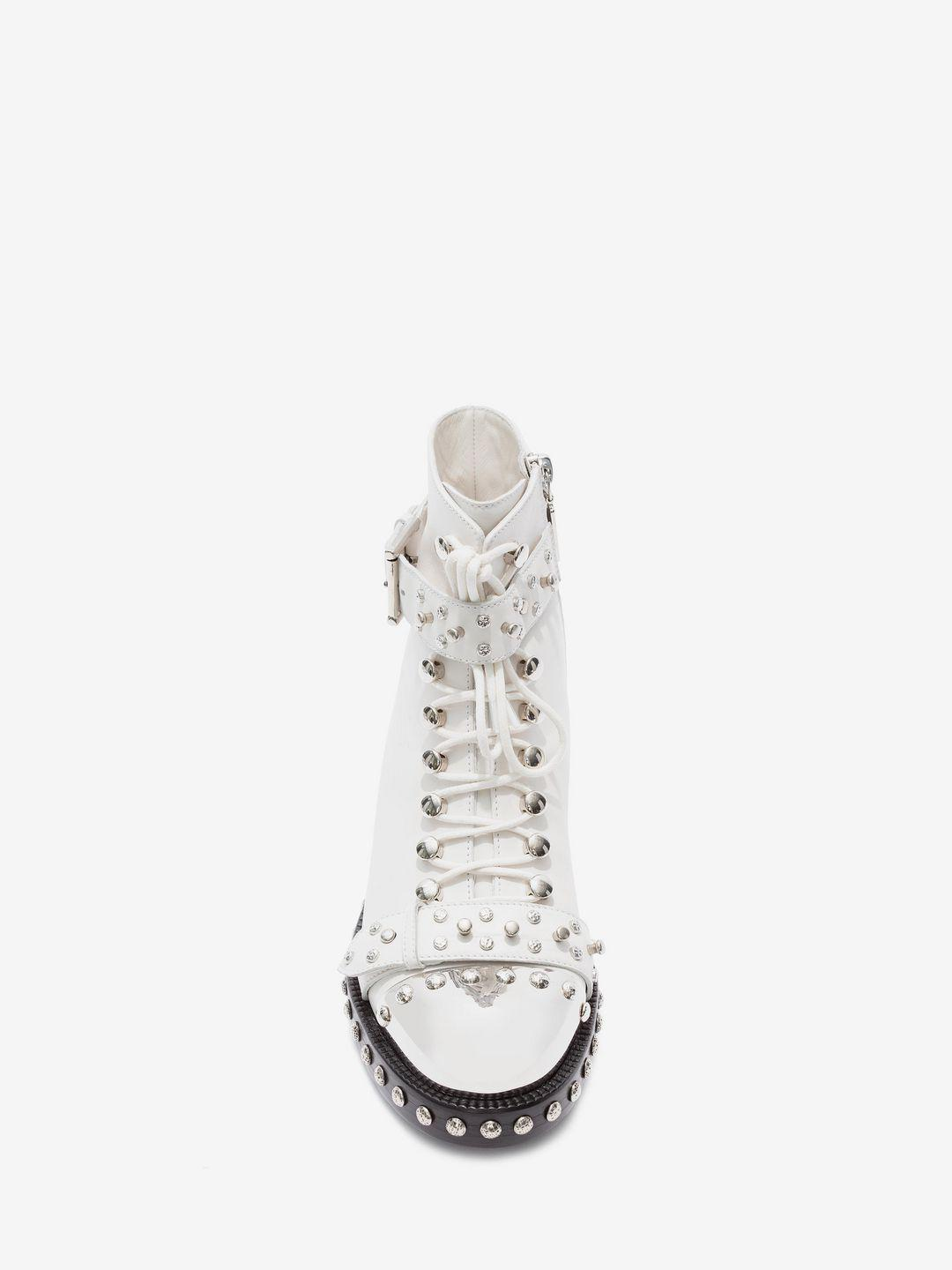 Alexander McQueen Leather Hobnail Ankle Boot in Ivory (White)