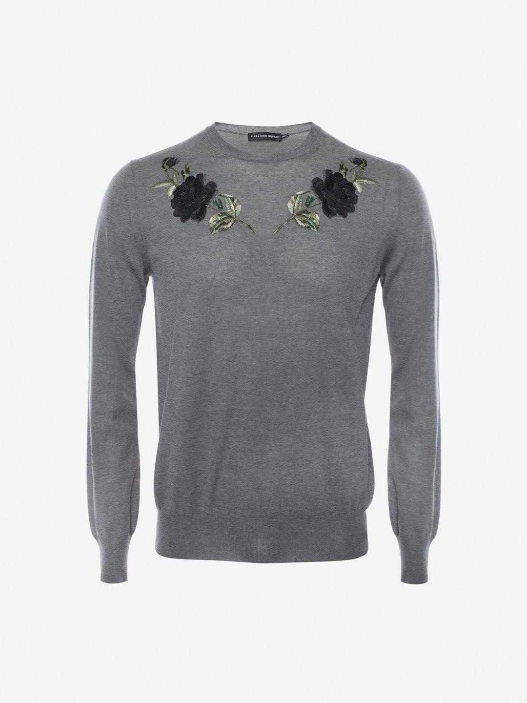 0dac017b014782 Alexander McQueen Embroidered Rose Crew Neck Jumper in Gray for Men ...