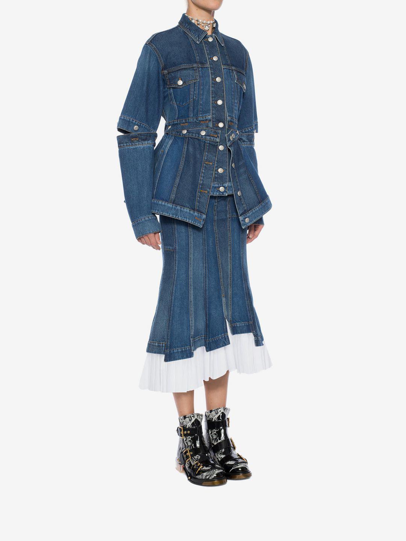 001530dee Alexander McQueen Denim Midi Skirt in Blue - Lyst