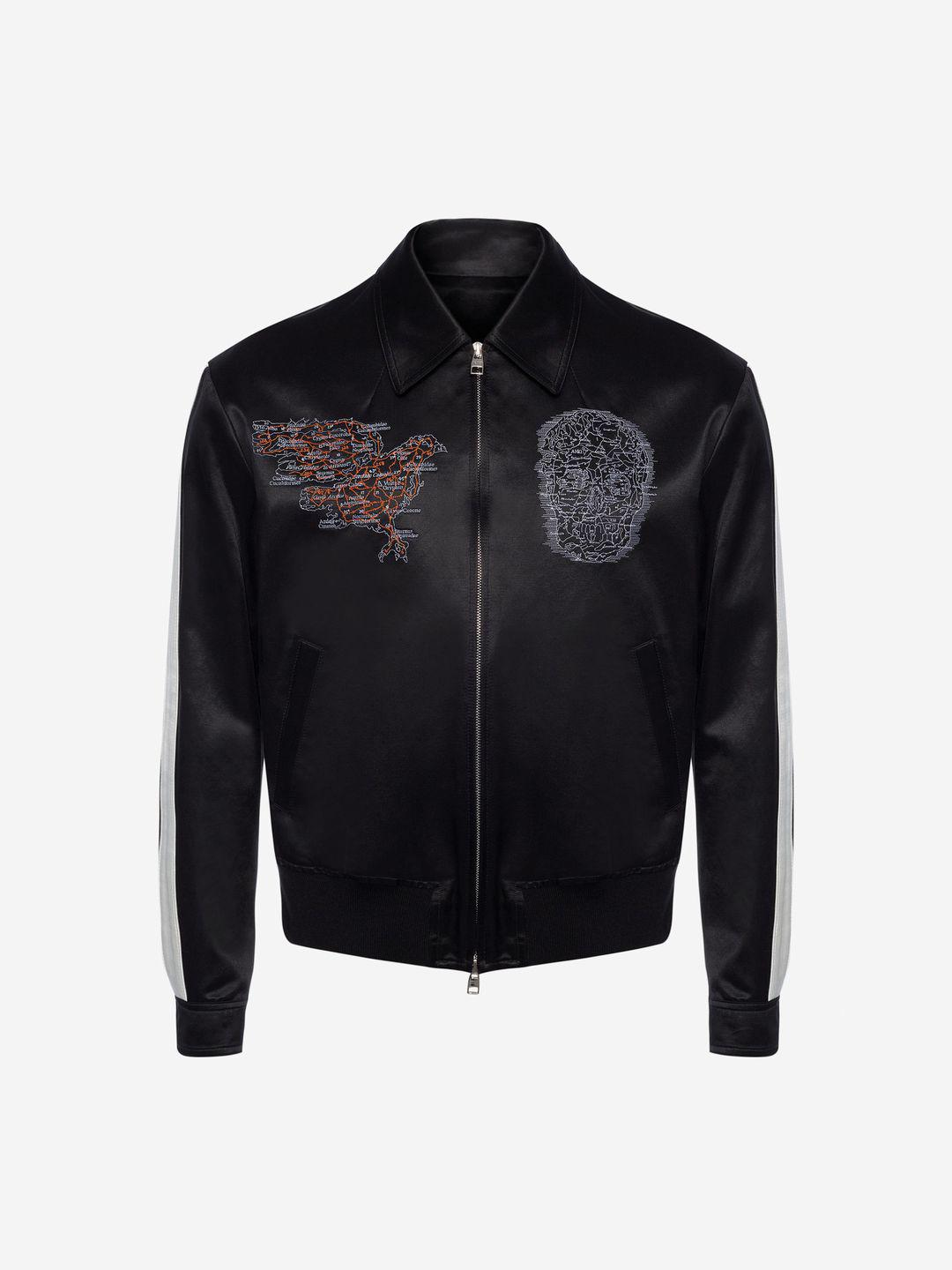 c090bea66d7 Lyst - Alexander McQueen Embroidered Skull Map Bomber Jacket in ...