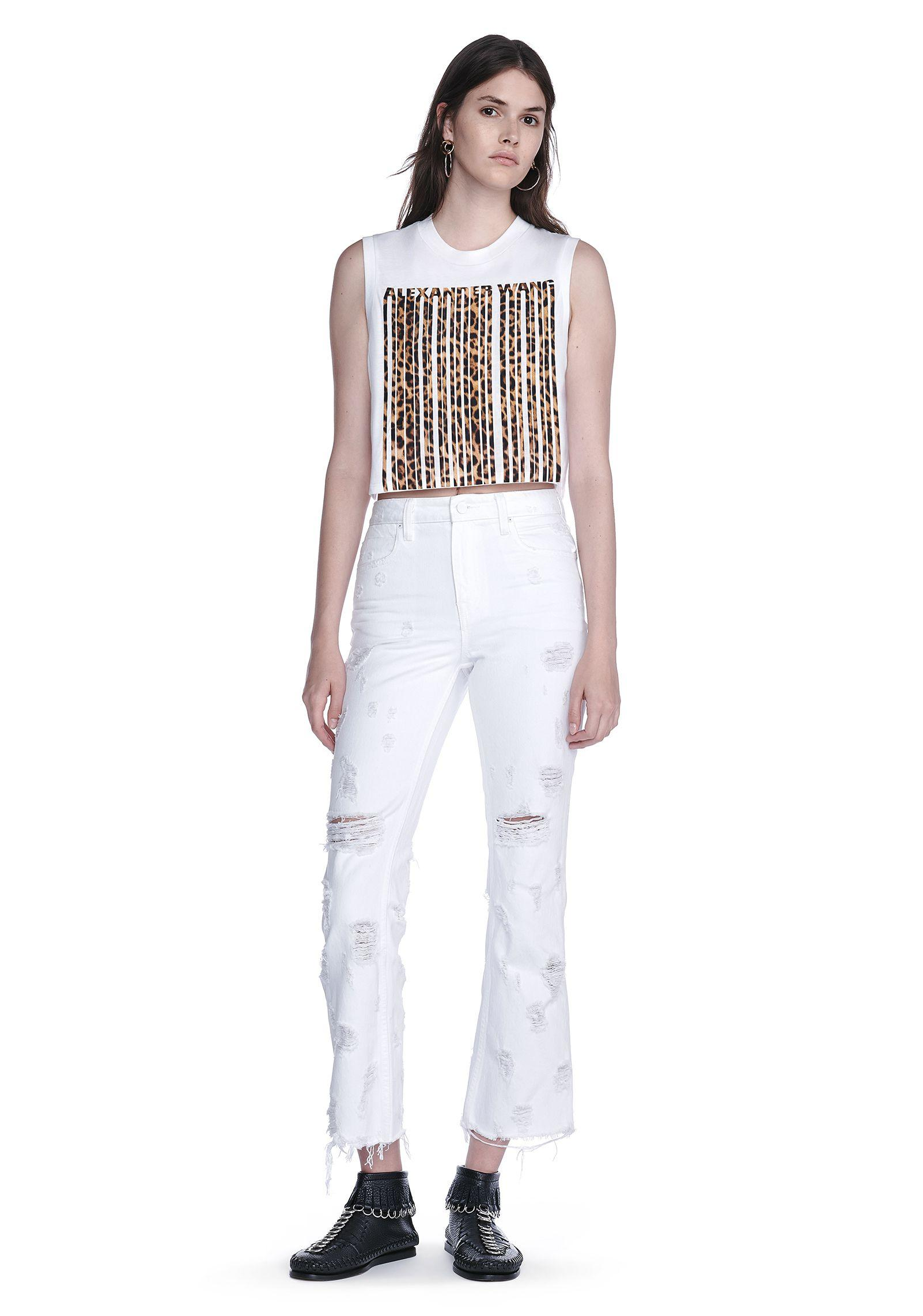 76dc39b8849a Alexander Wang Leopard-Print Bonded Barcode Crop Top in White - Lyst