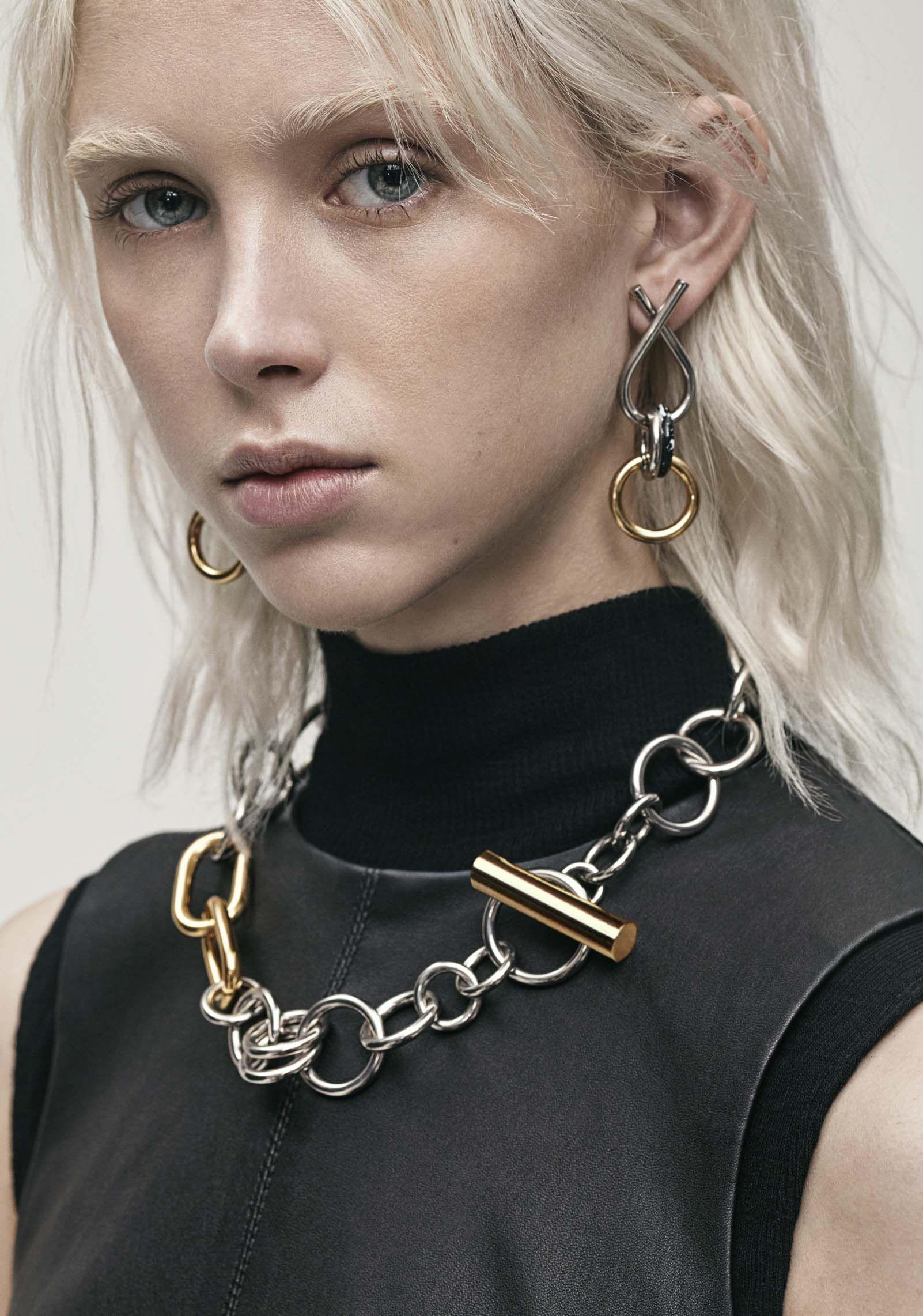 Lyst Alexander Wang Mixed Metal Toggle Necklace In Metallic