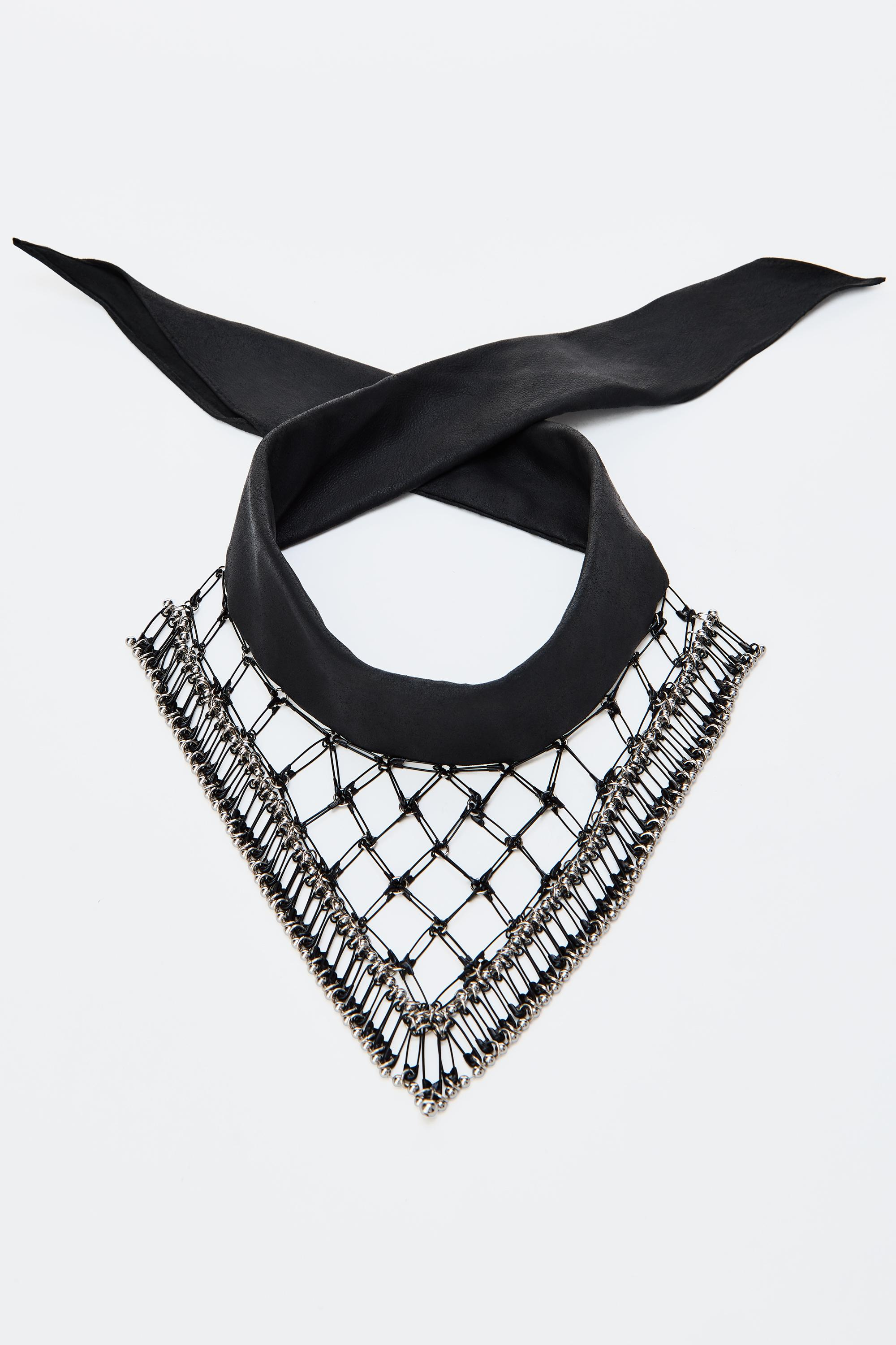 Leather Safety Pin Scarf