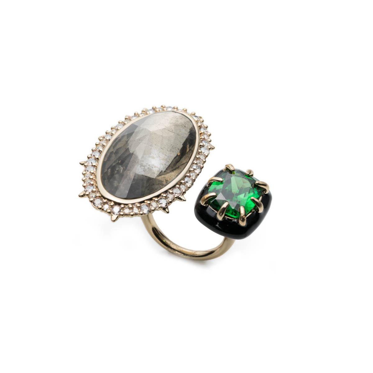 Alexis Bittar Pyrite & Emerald Cubic Zirconia Cocktail Ring