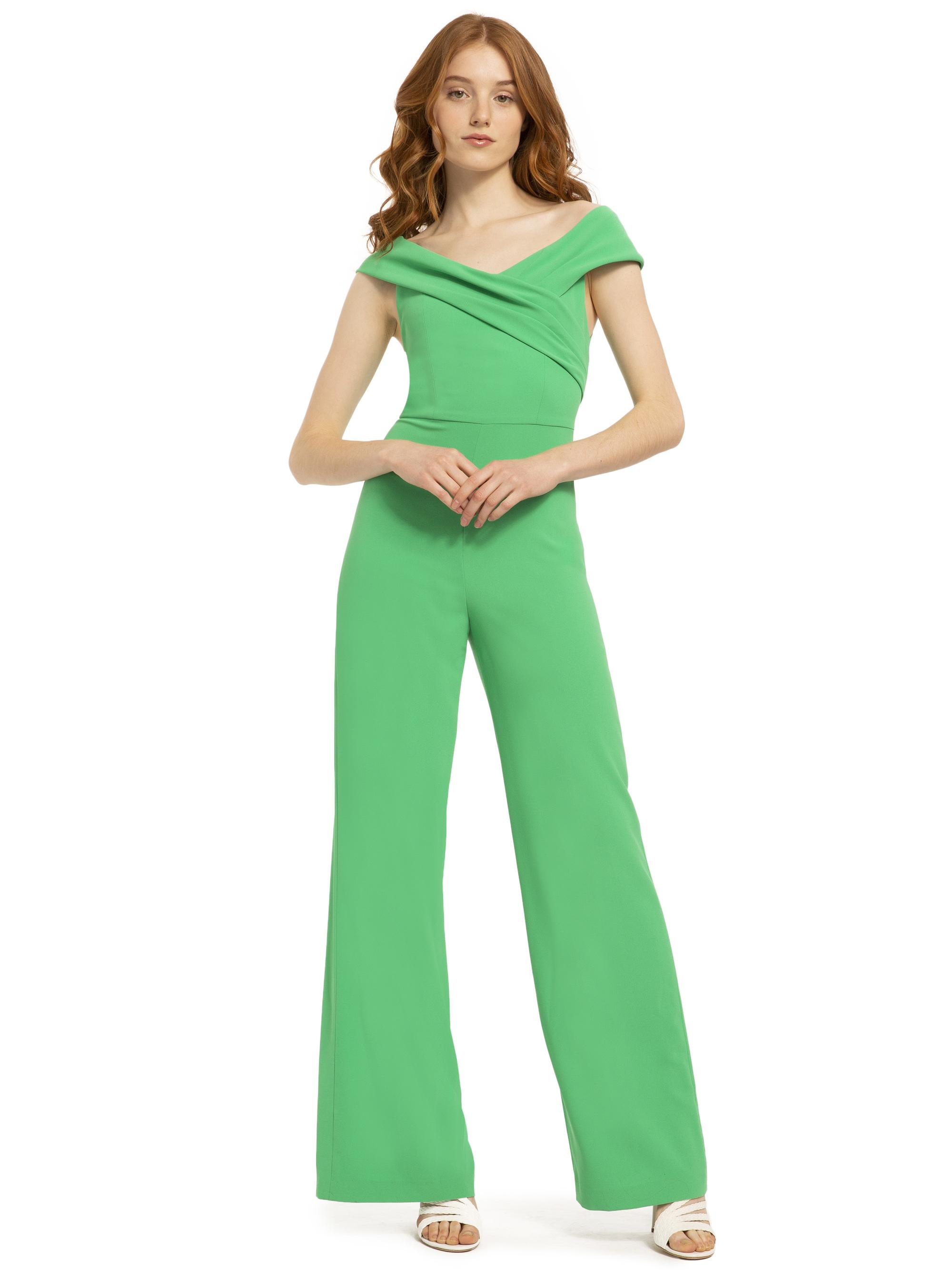 1633a538e4f7 Lyst - Alice + Olivia Kaye Wrap Shoulder Sleveless Jumpsuit in Green