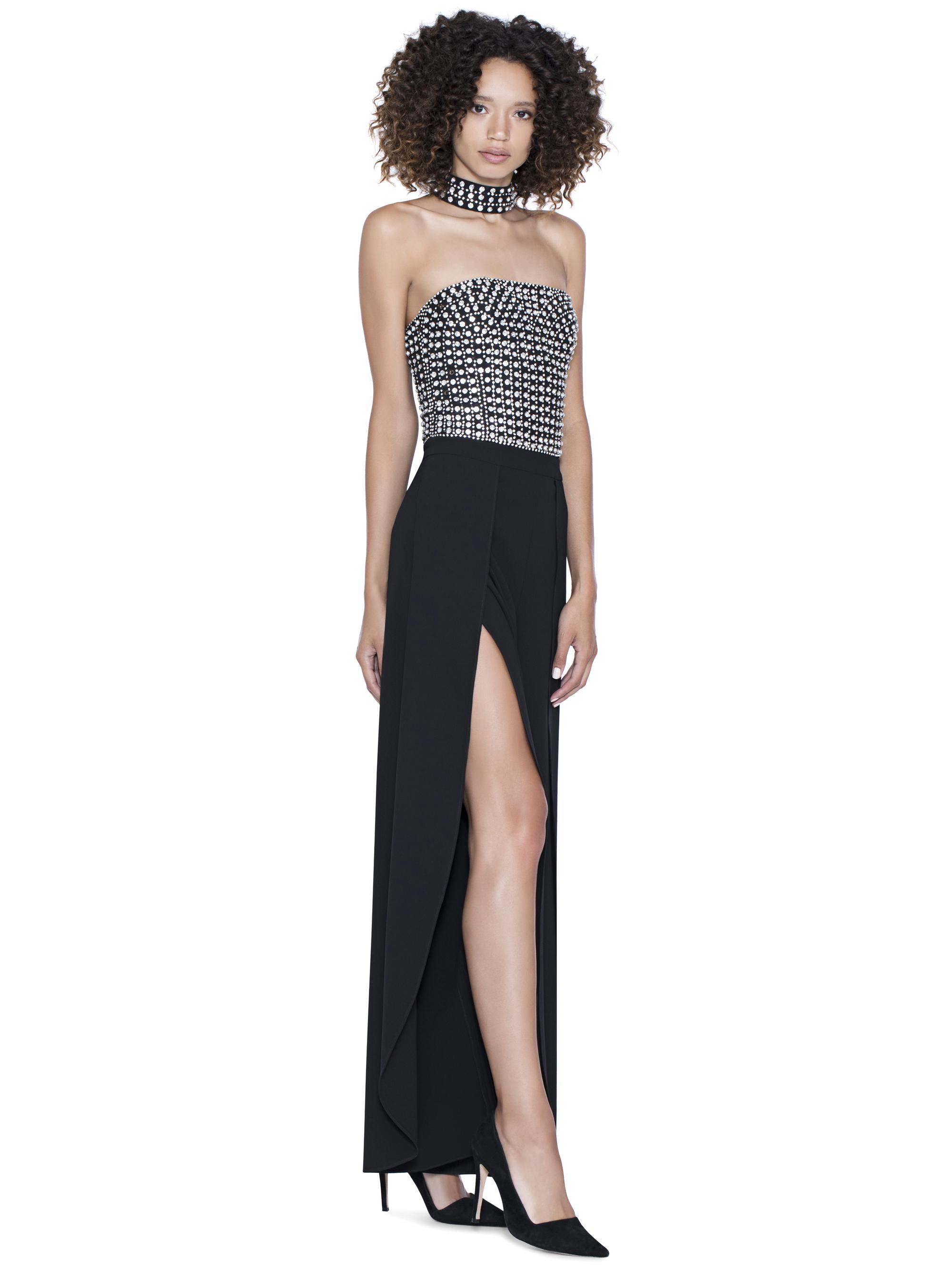 f5c4ffea093f Lyst - Alice + Olivia Bebe Embellished Choker Neck Jumpsuit in Black