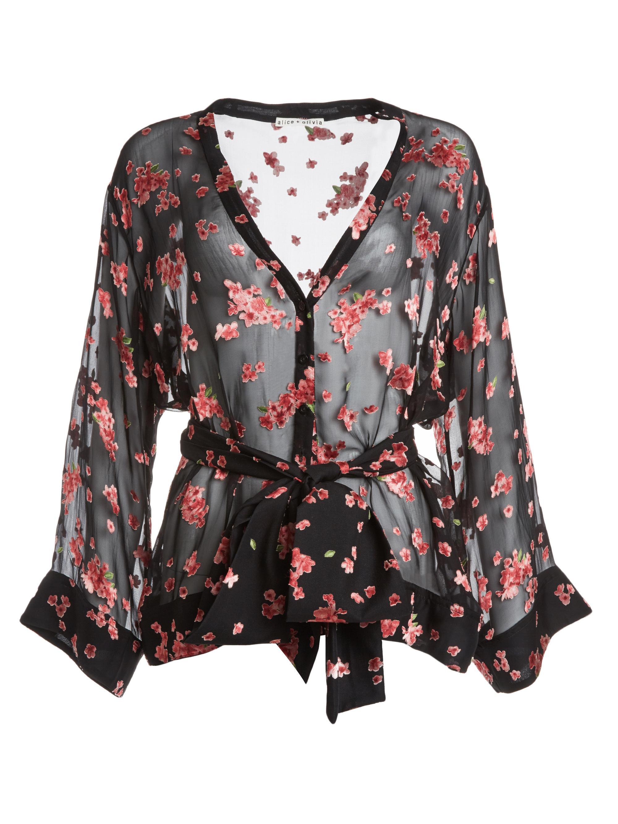 d761ed7459966 Lyst - Alice + Olivia Rosario Tie Waist Kimono Top