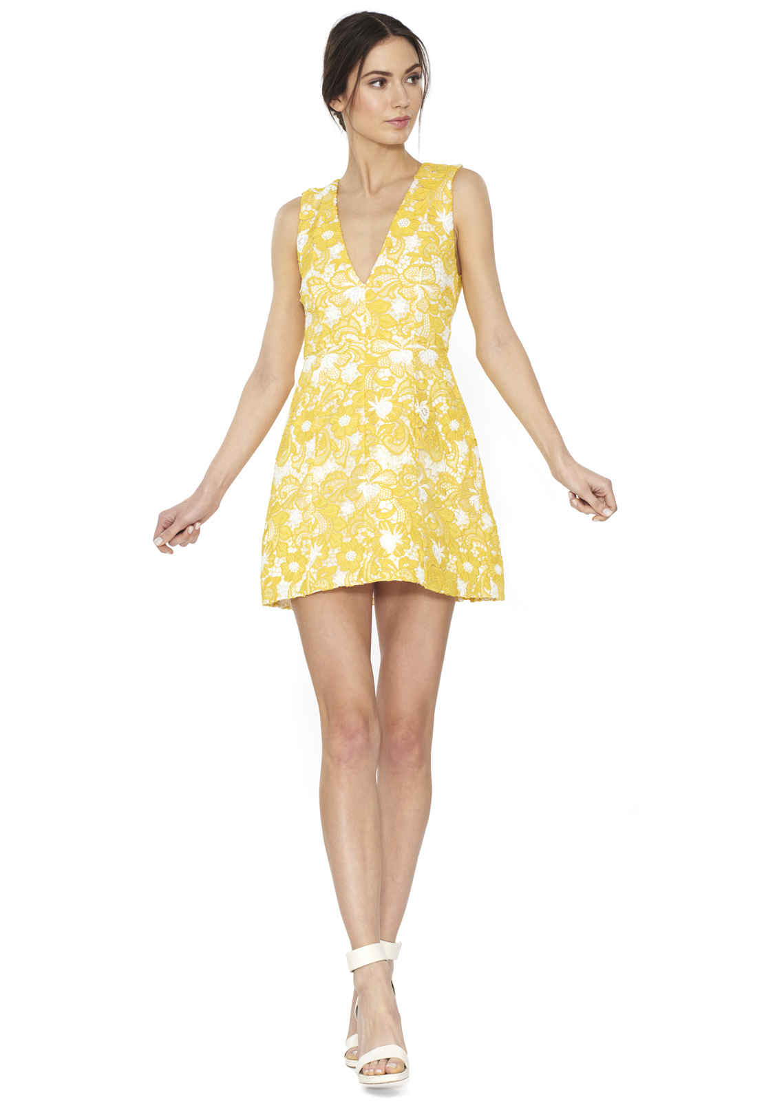 Lyst alice olivia pacey low v neck lantern dress in yellow ombrellifo Images