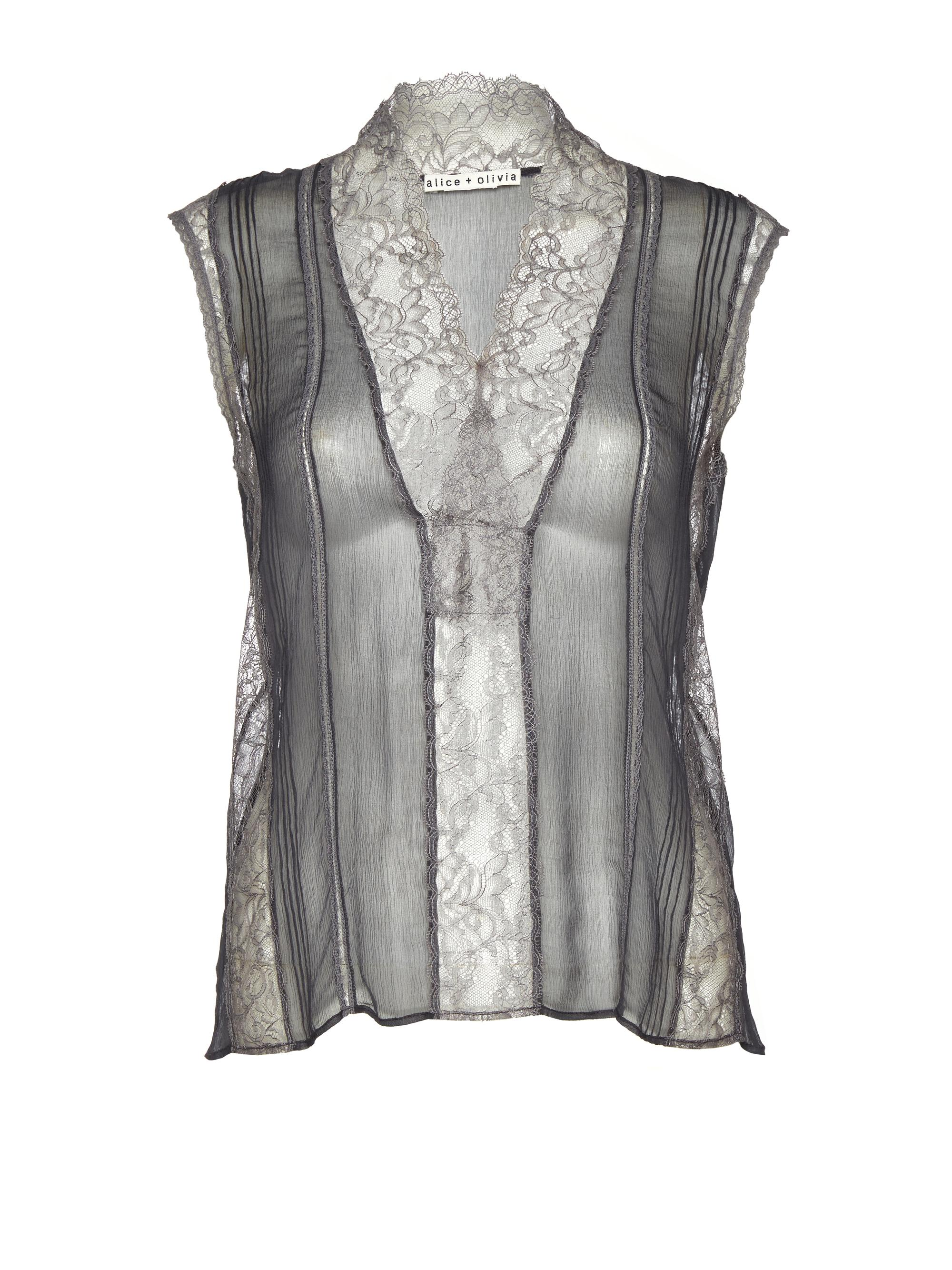 Lyst Alice Olivia Charcoal Peta Lace Blouse In Gray