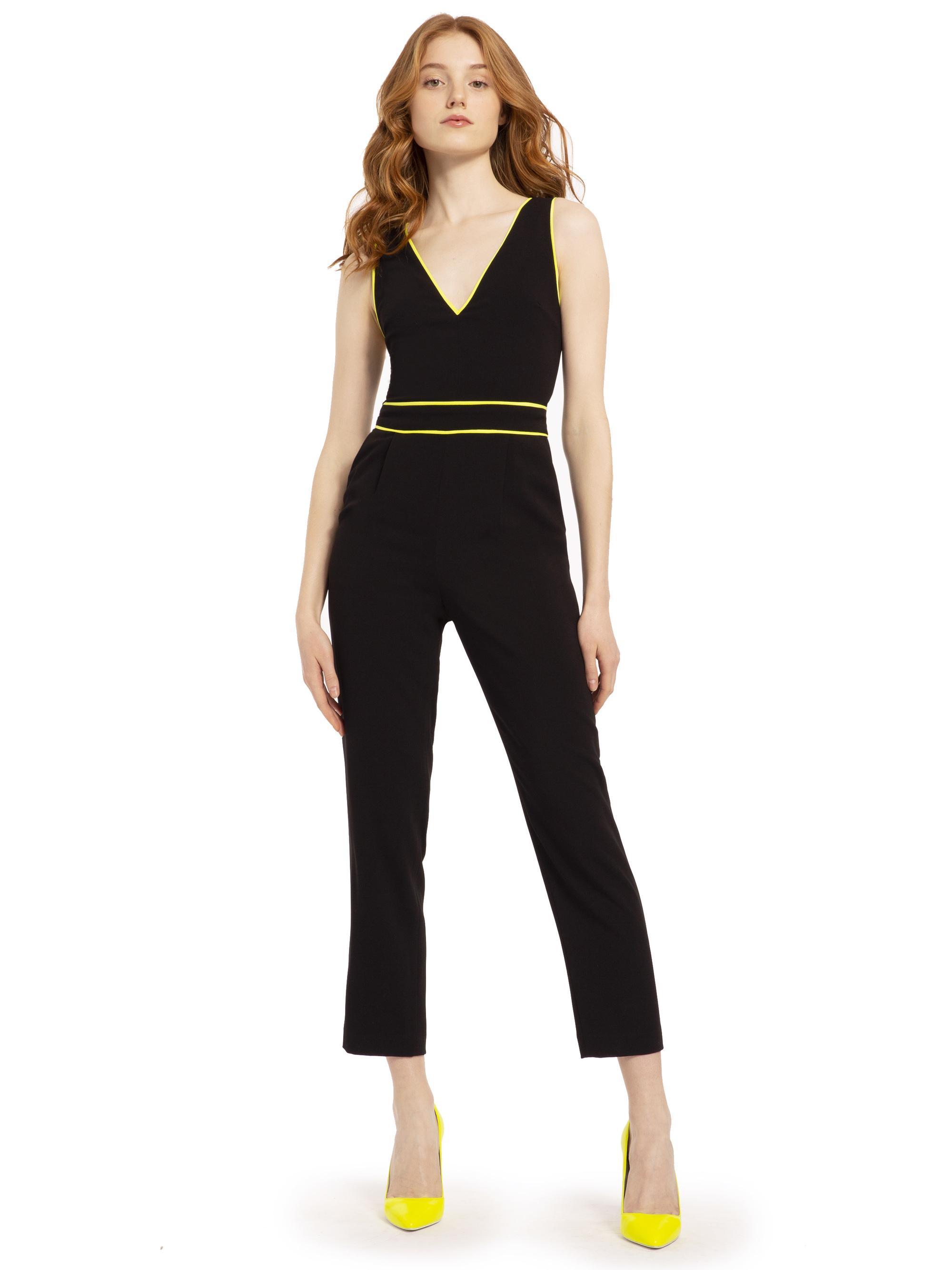 a1f2960f635a Alice + Olivia Jeri Neon Straight Leg Jumpsuit in Black - Lyst