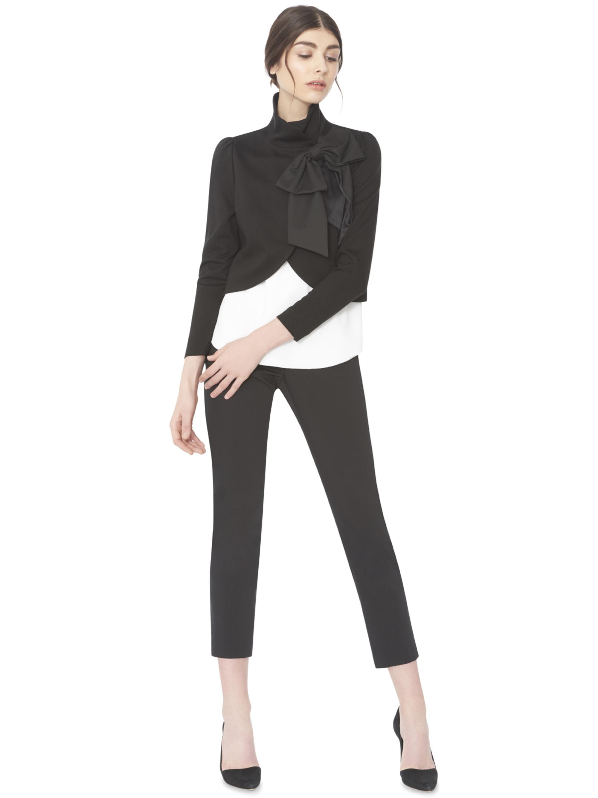 Alice Olivia Addison Bow Collar Crop Jacket In Black Lyst