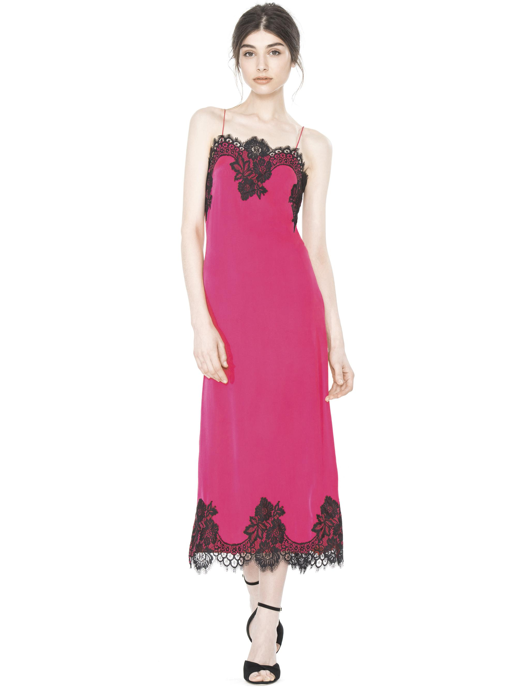 edd03eff923e Alice + Olivia Luna Lace Trim Stretch Silk Blend Slipdress in Pink ...