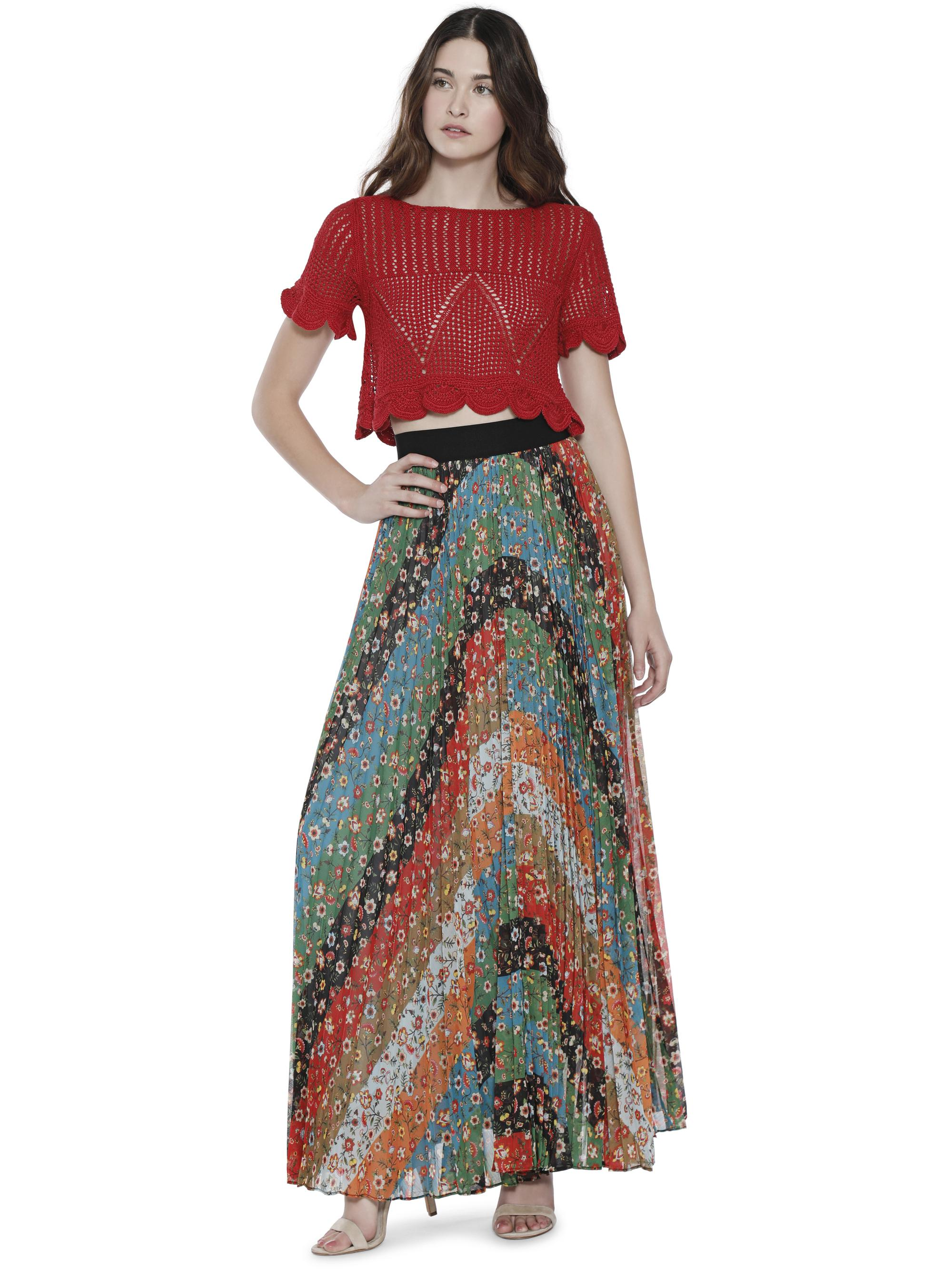 854b8d43b198 Alice + Olivia Katz Wide Band Sunburst Pleat Maxi Skirt - Lyst