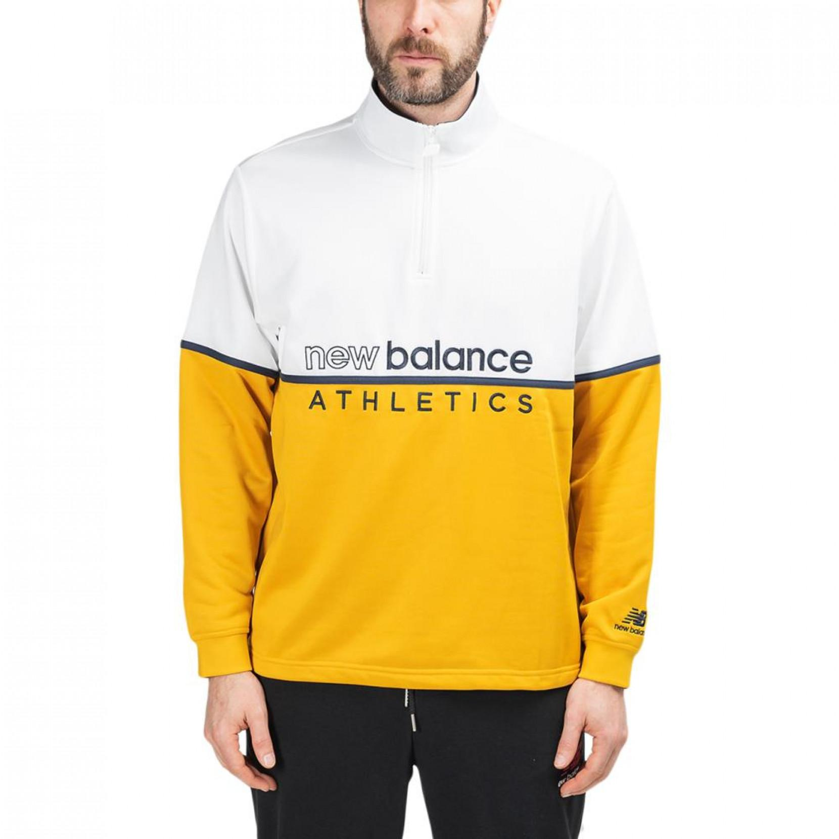 New Balance Cotton Nb Athletics Track 1/4 Zip in White for Men - Lyst