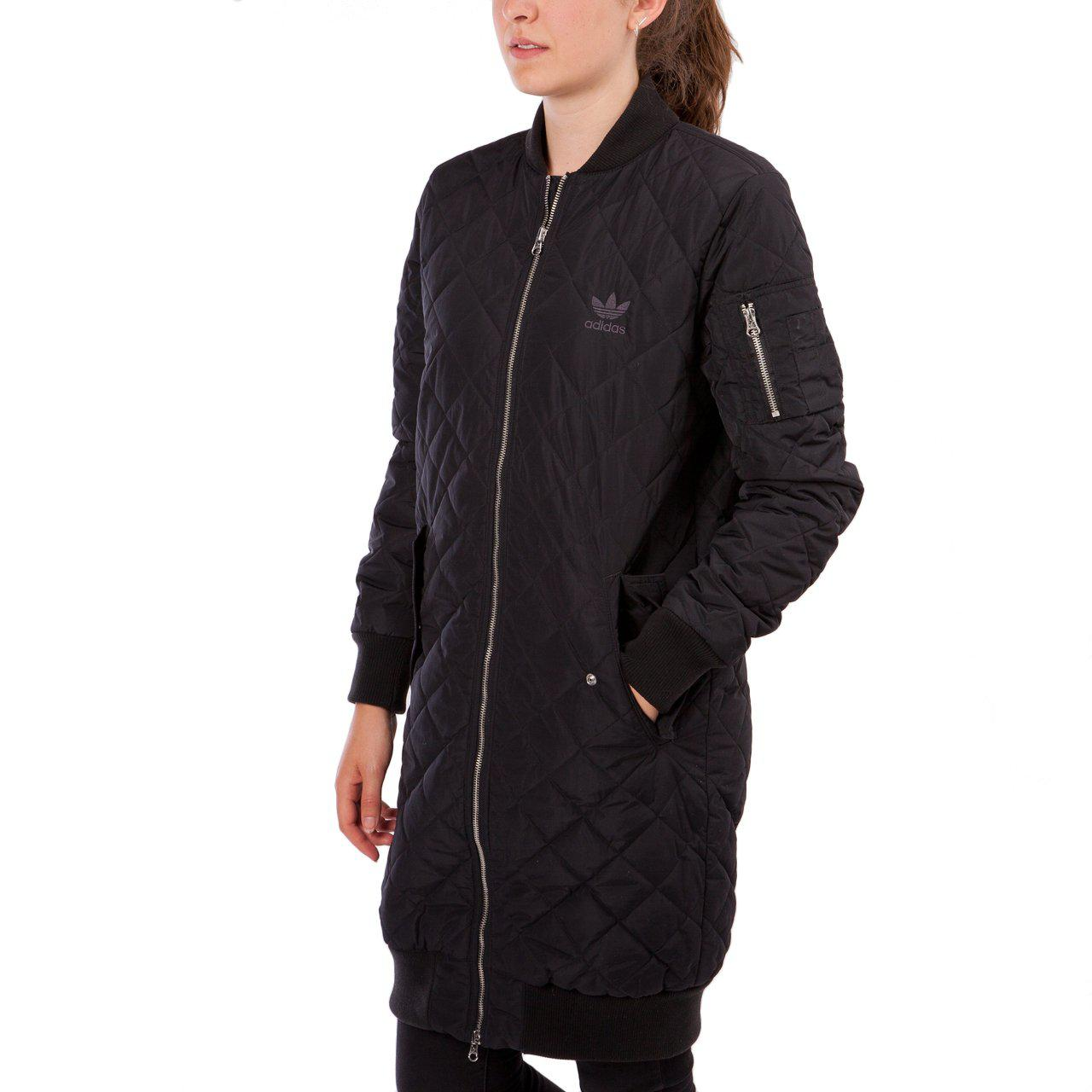adidas Synthetic Long Quilted Bomber Jacket in Black - Lyst