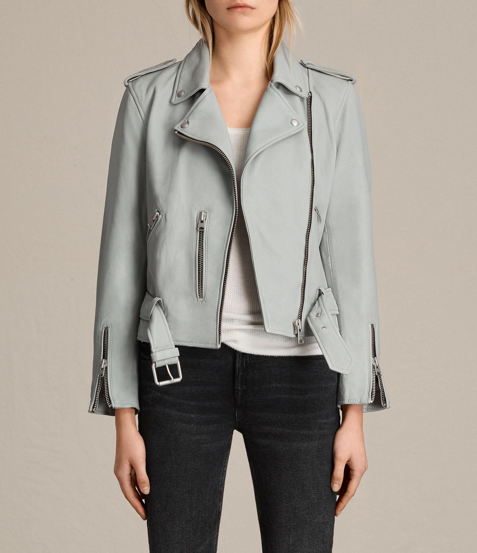 47e93c6b3a8 AllSaints Balfern Leather Biker Jacket in Blue - Lyst