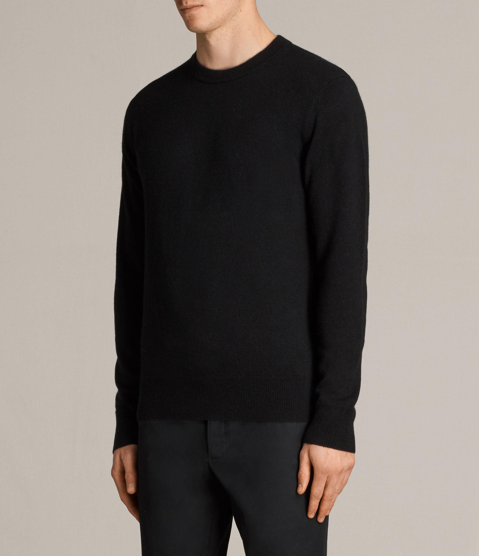AllSaints Hale Cashmere Crew Jumper in Black for Men
