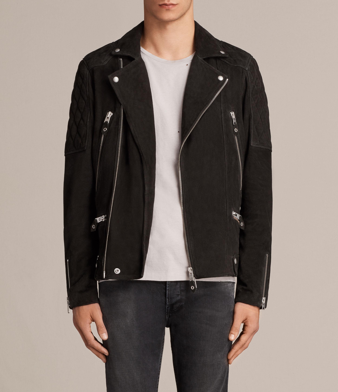 Lyst Allsaints Kitsir Suede Biker Jacket In Black For Men