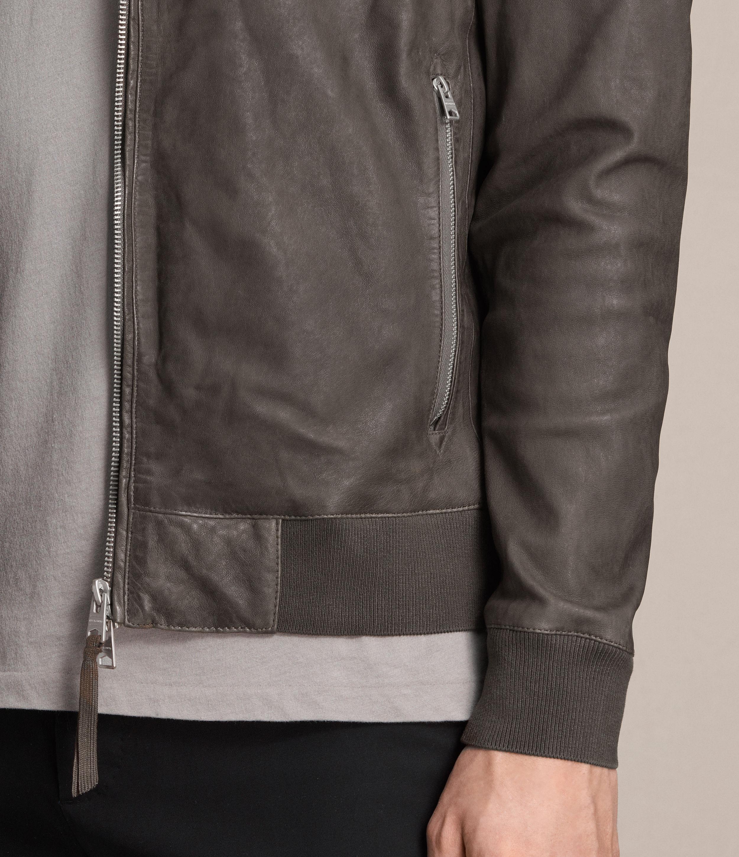AllSaints Kino Leather Bomber Jacket in Slate Grey (Grey) for Men