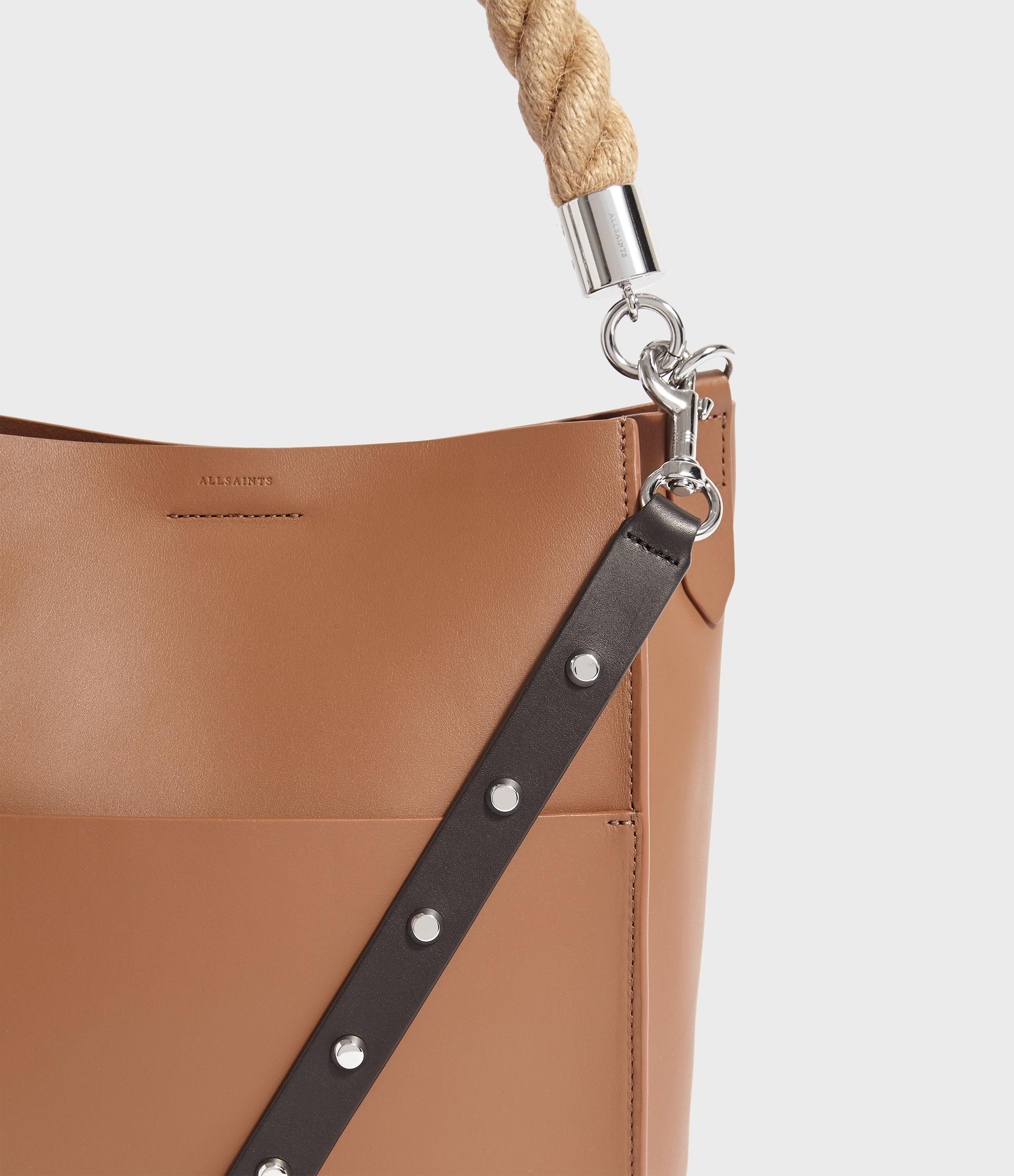 7a8289bae5b1f AllSaints Harri Leather Small North South Tote Bag in Brown - Lyst
