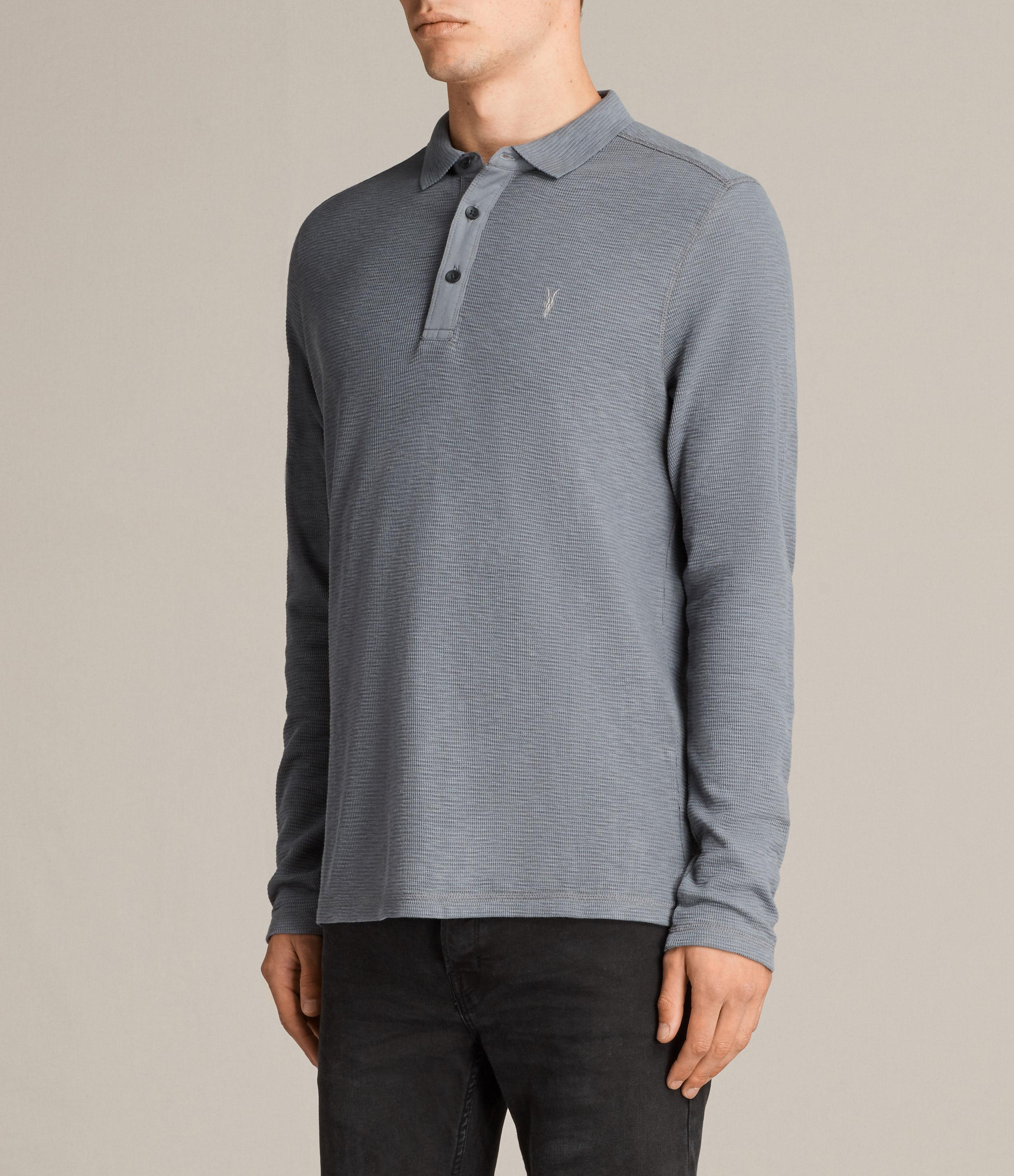 Lyst allsaints clash polo shirt in gray for men for All saints polo shirt