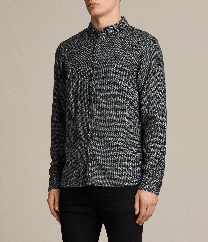 AllSaints Cotton Blackshear Shirt in Black Check (Grey) for Men