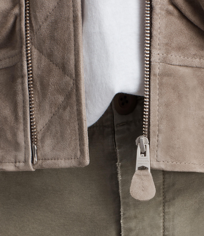 AllSaints Ari Suede Bomber Jacket in Light Khaki (Natural) for Men