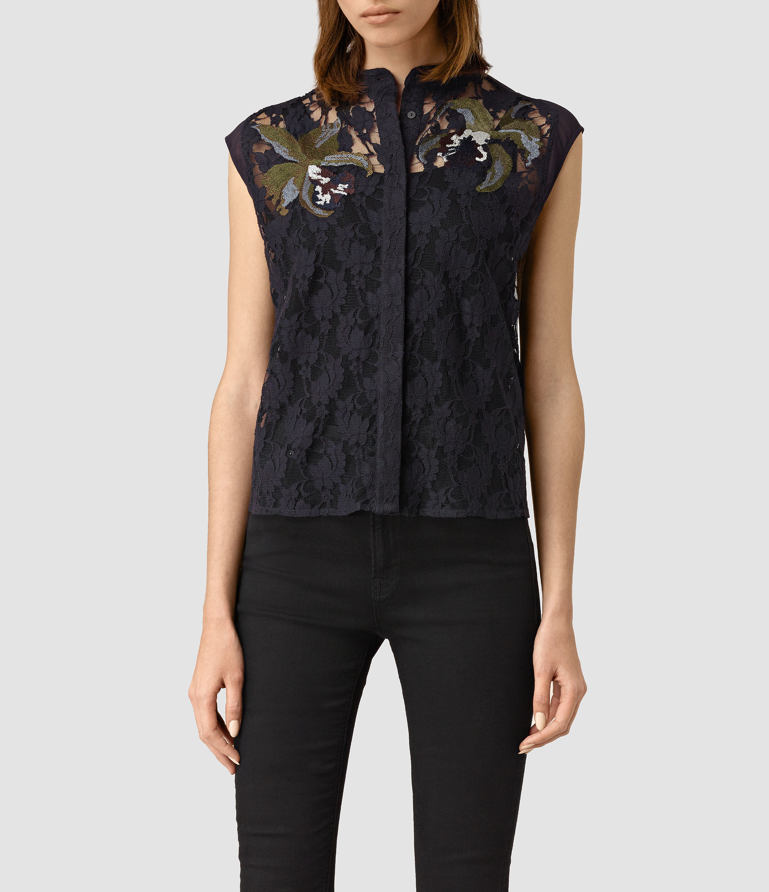 Allsaints Anya Embroidered Shirt In Black  Lyst