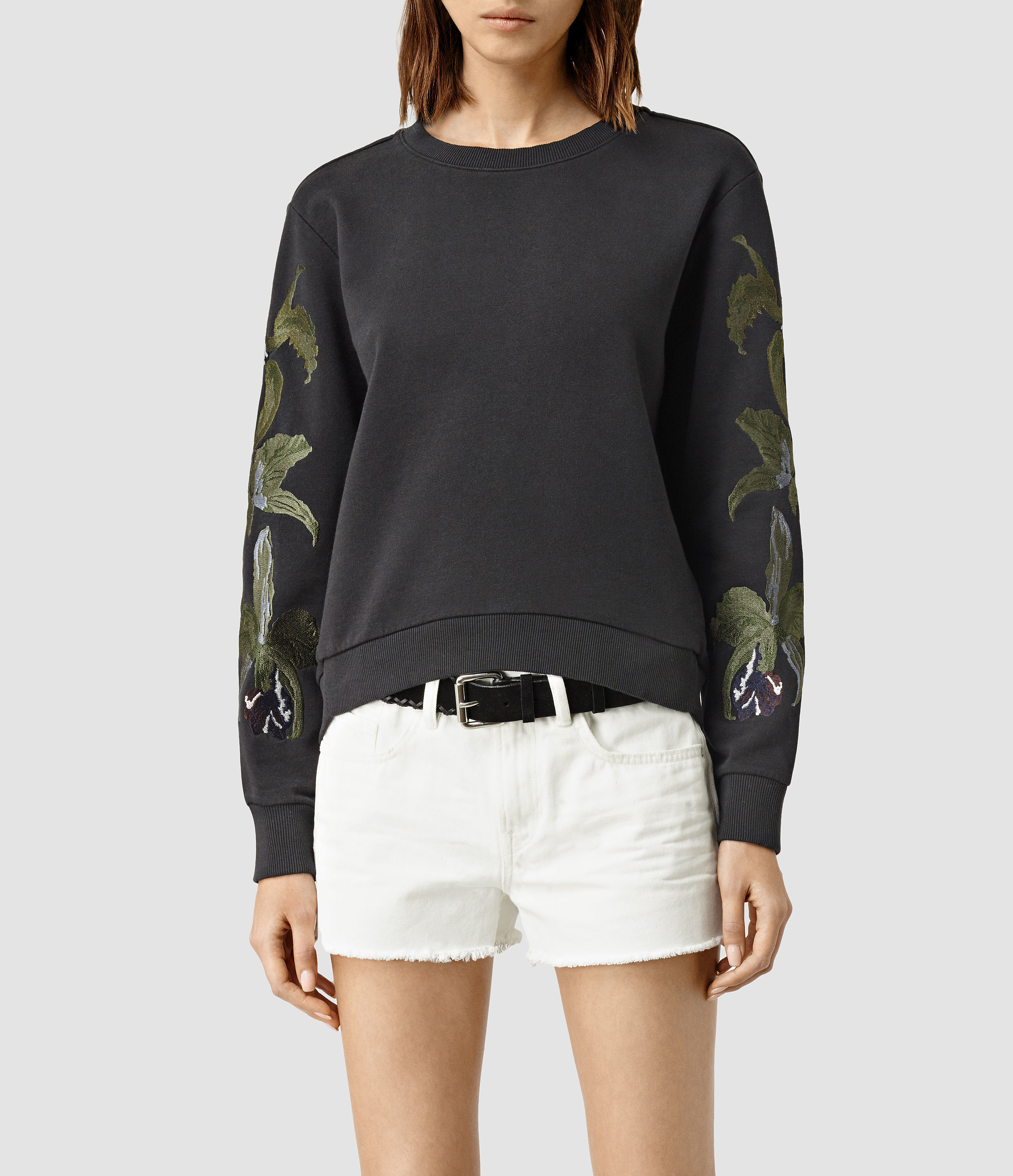 Allsaints Anya Embroidered Sweatshirt In Gray  Lyst